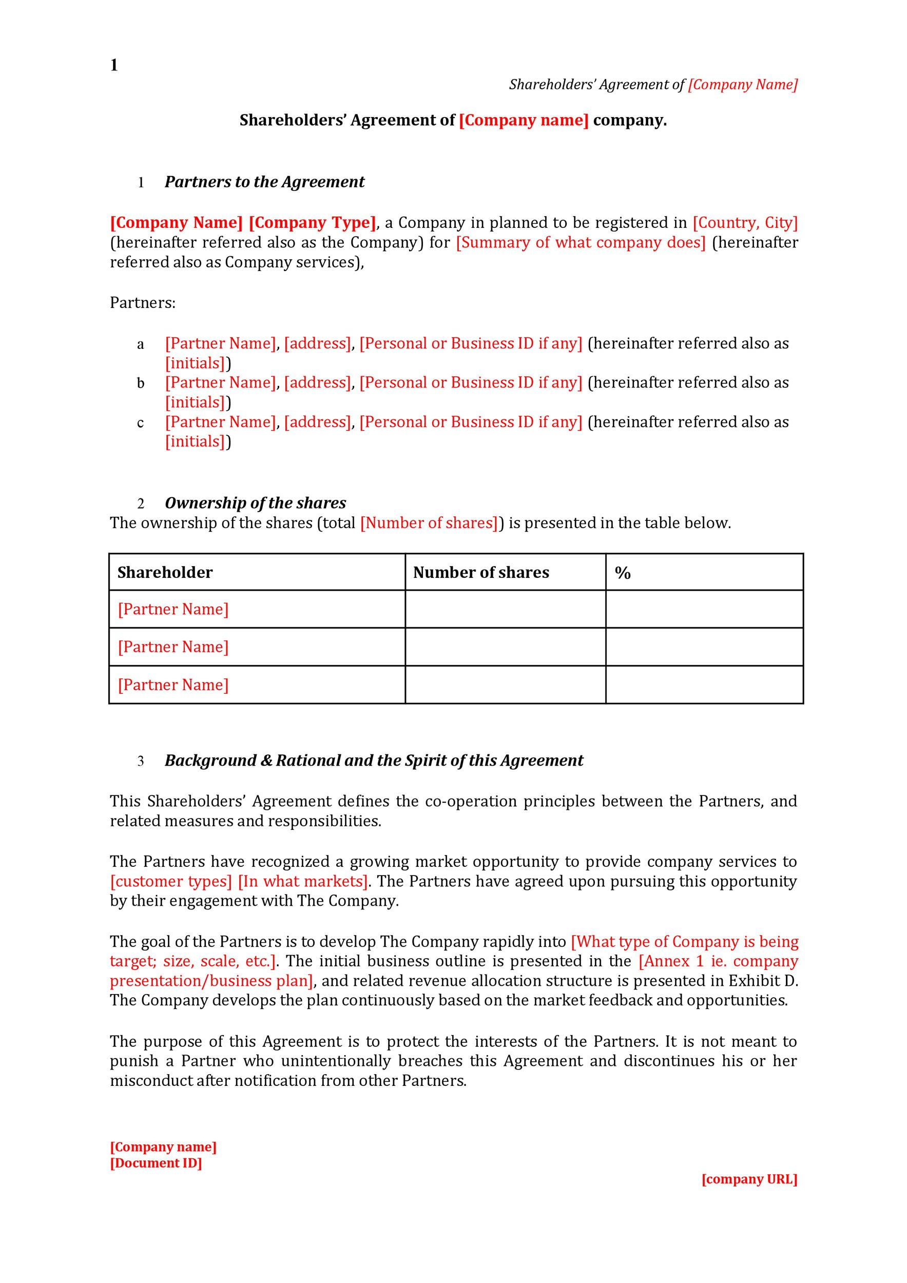 Free shareholder agreement 07