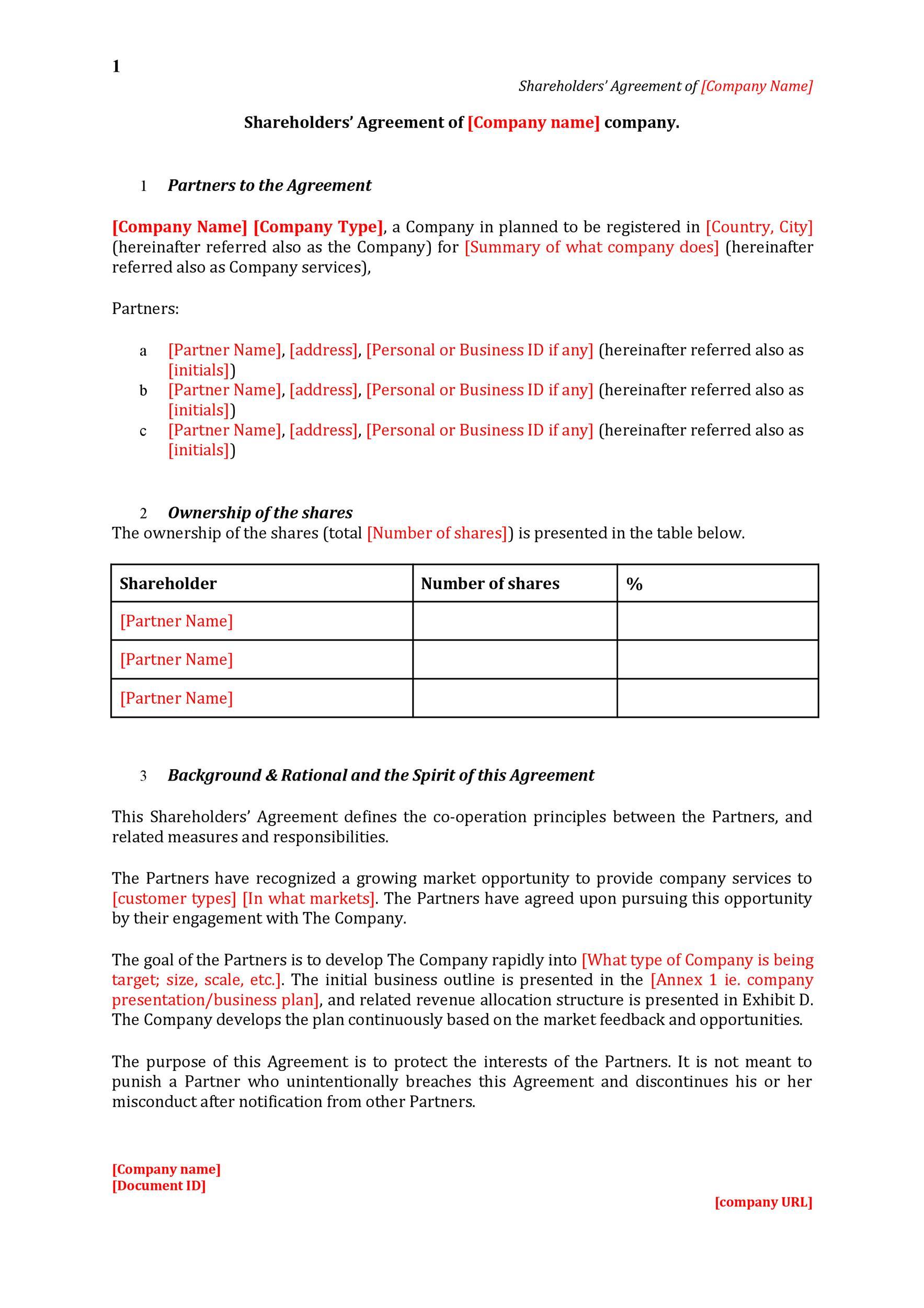 Free shareholder agreement 07