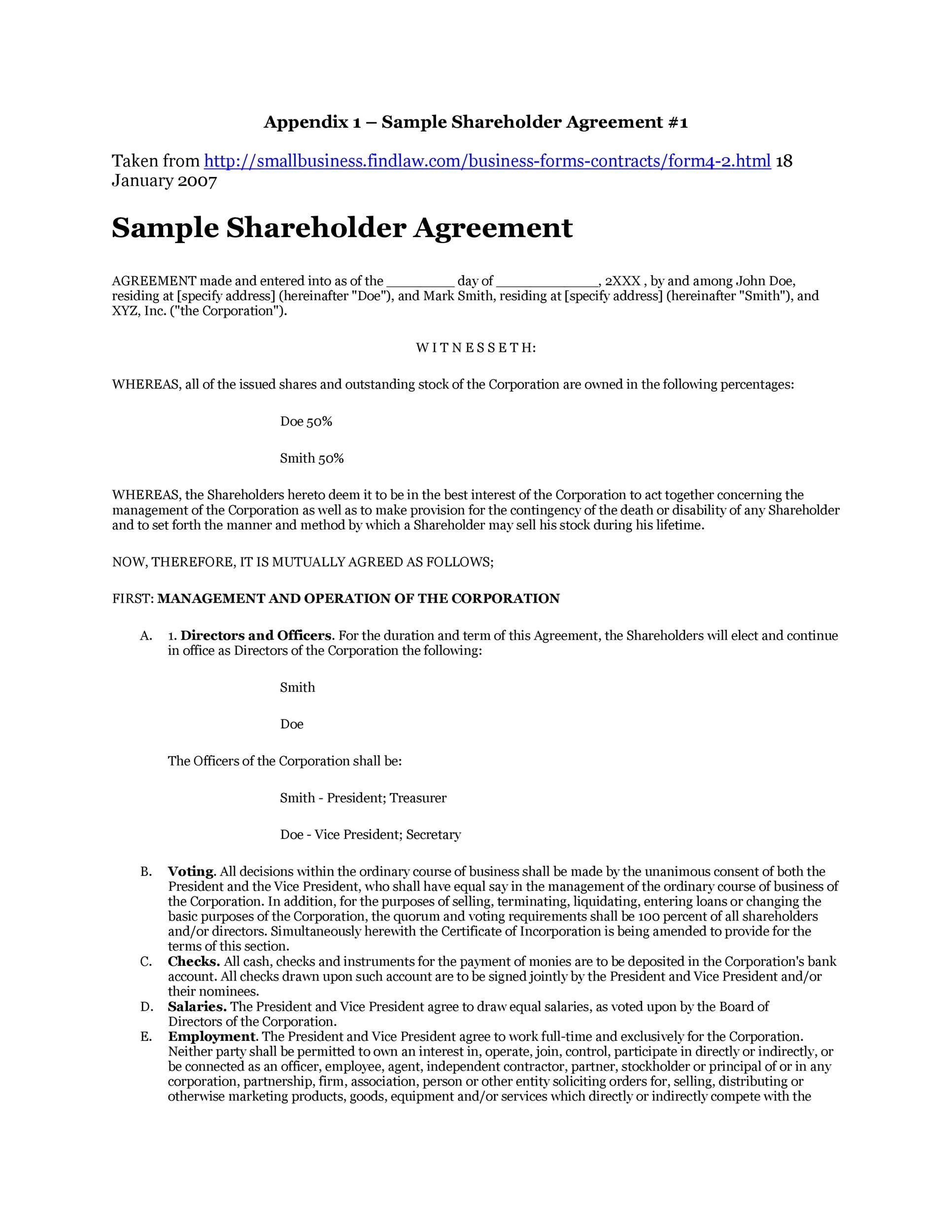 Free shareholder agreement 09