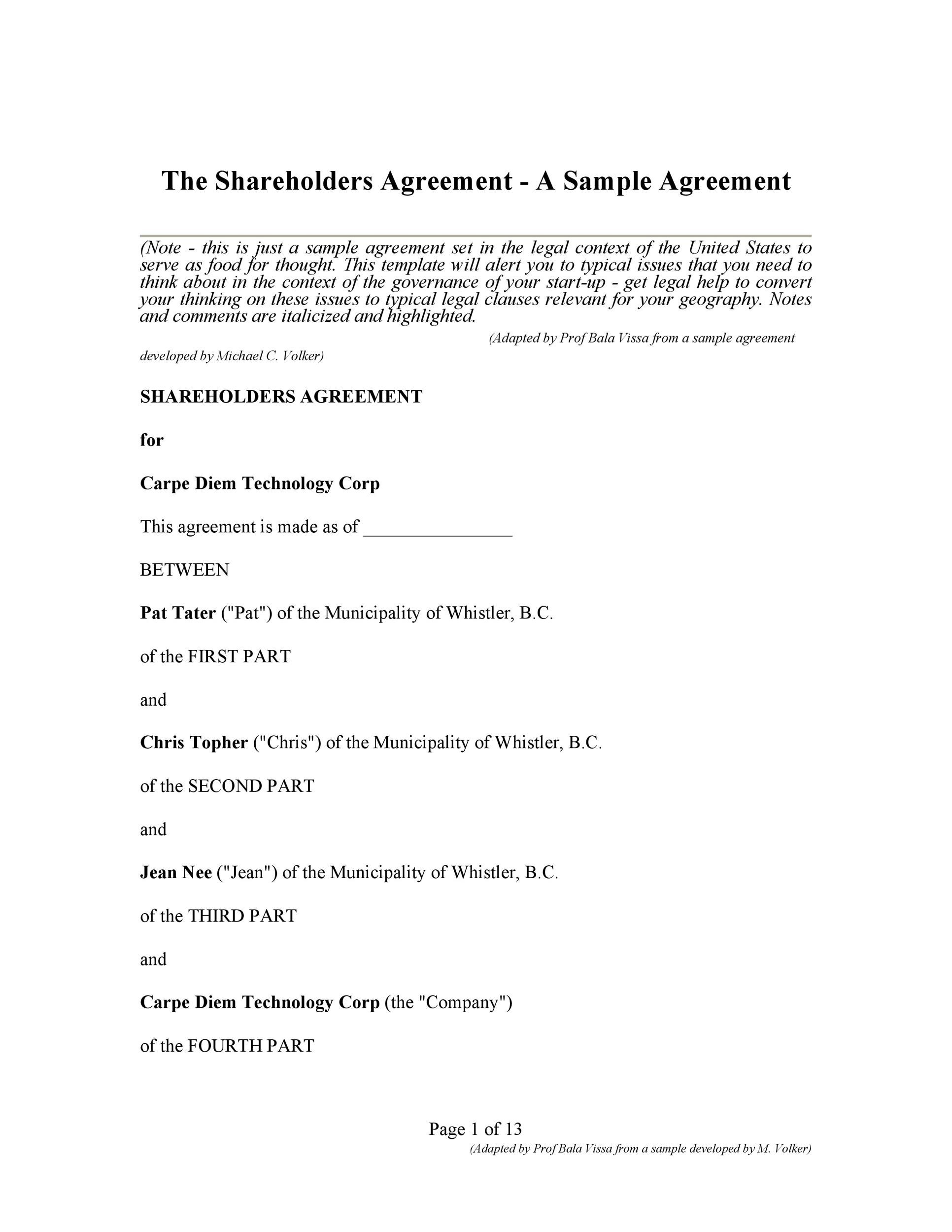 Free shareholder agreement 10