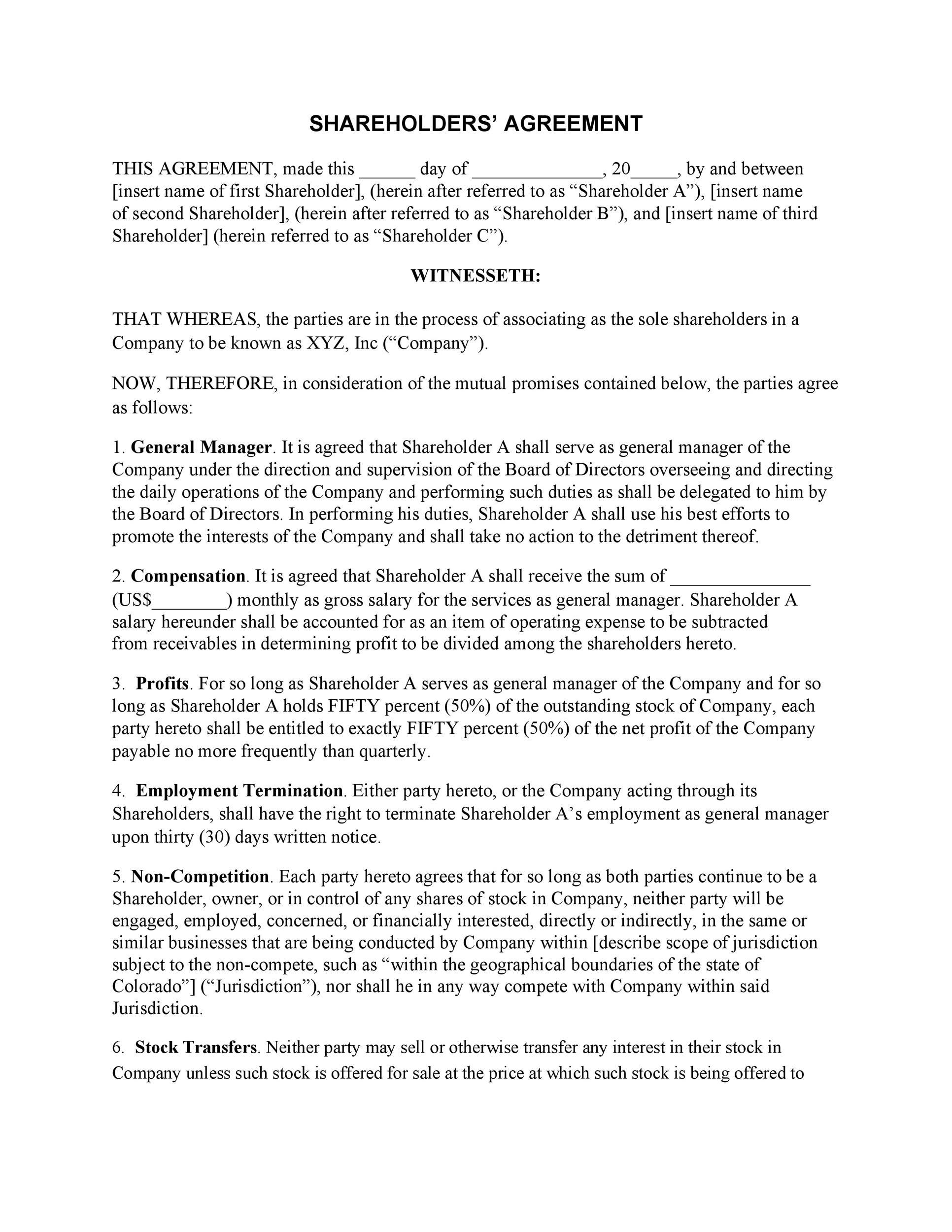 Free shareholder agreement 11