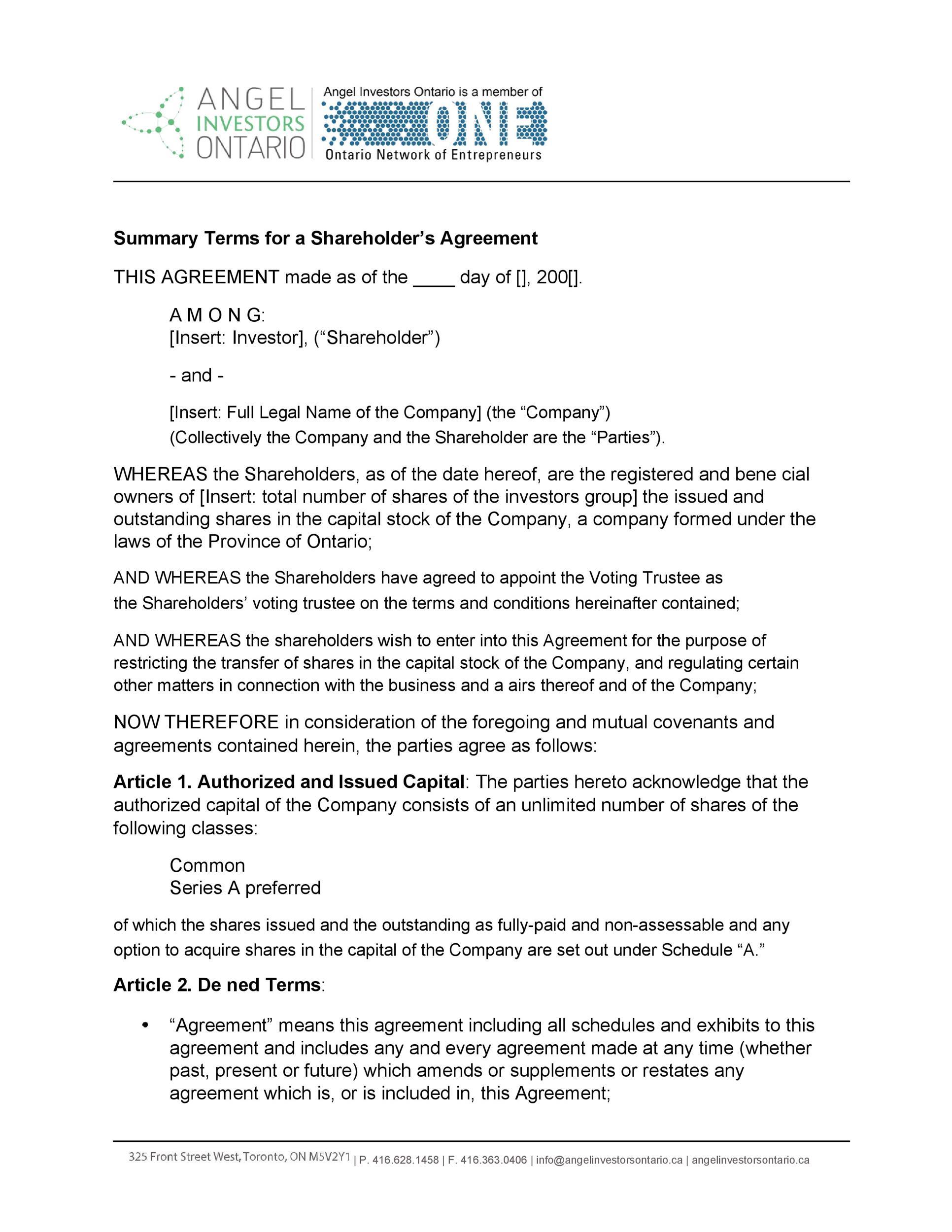 Free shareholder agreement 15
