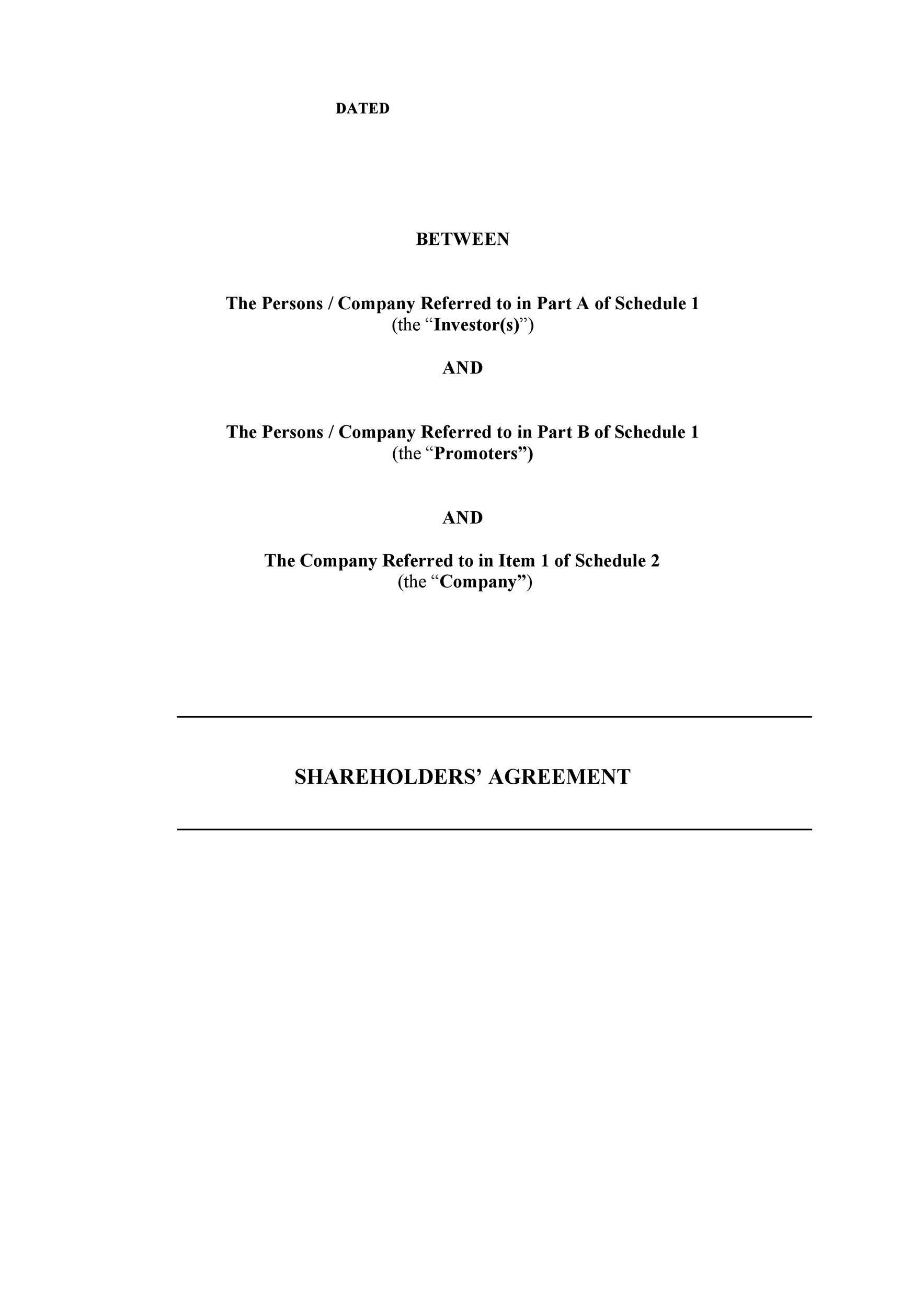 Free shareholder agreement 20