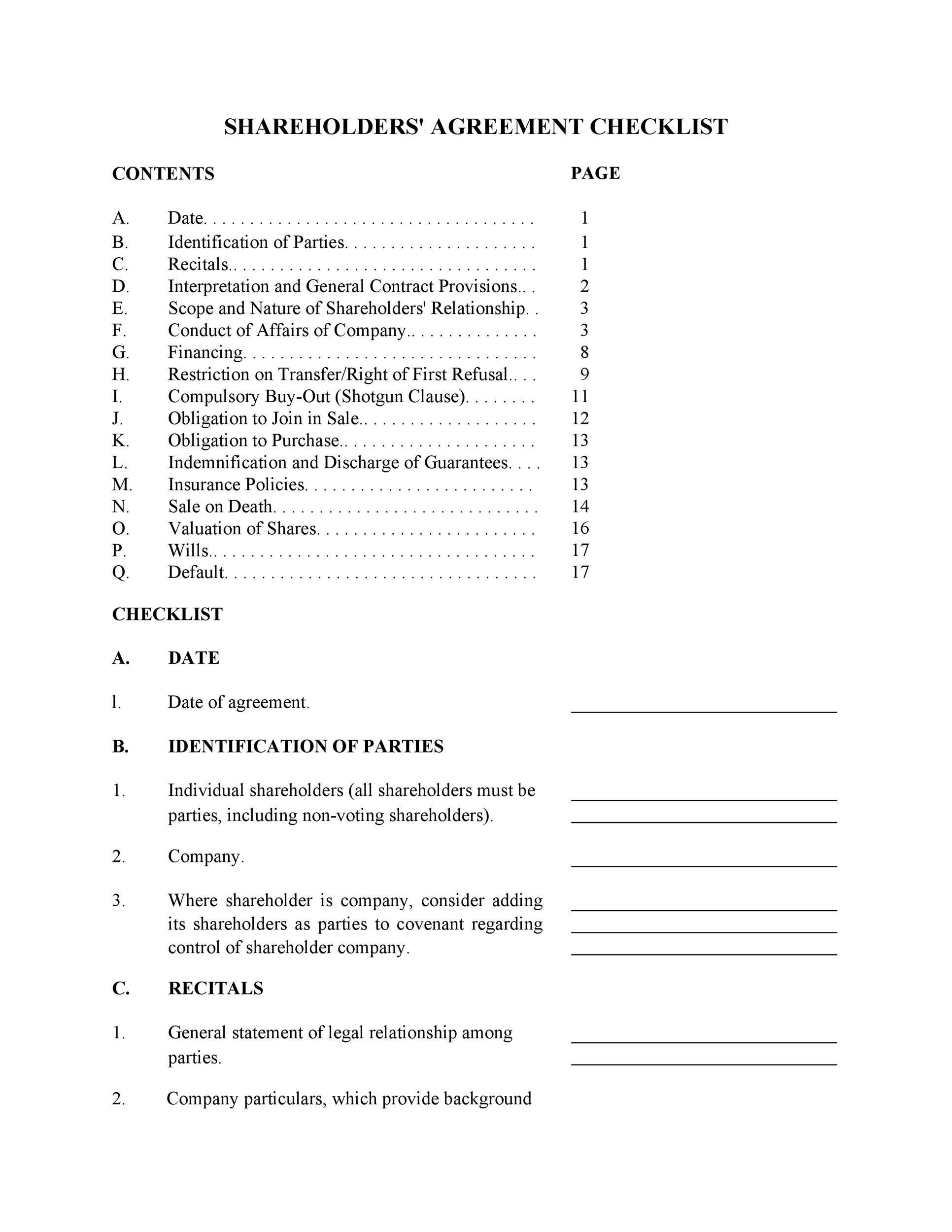Free shareholder agreement 21
