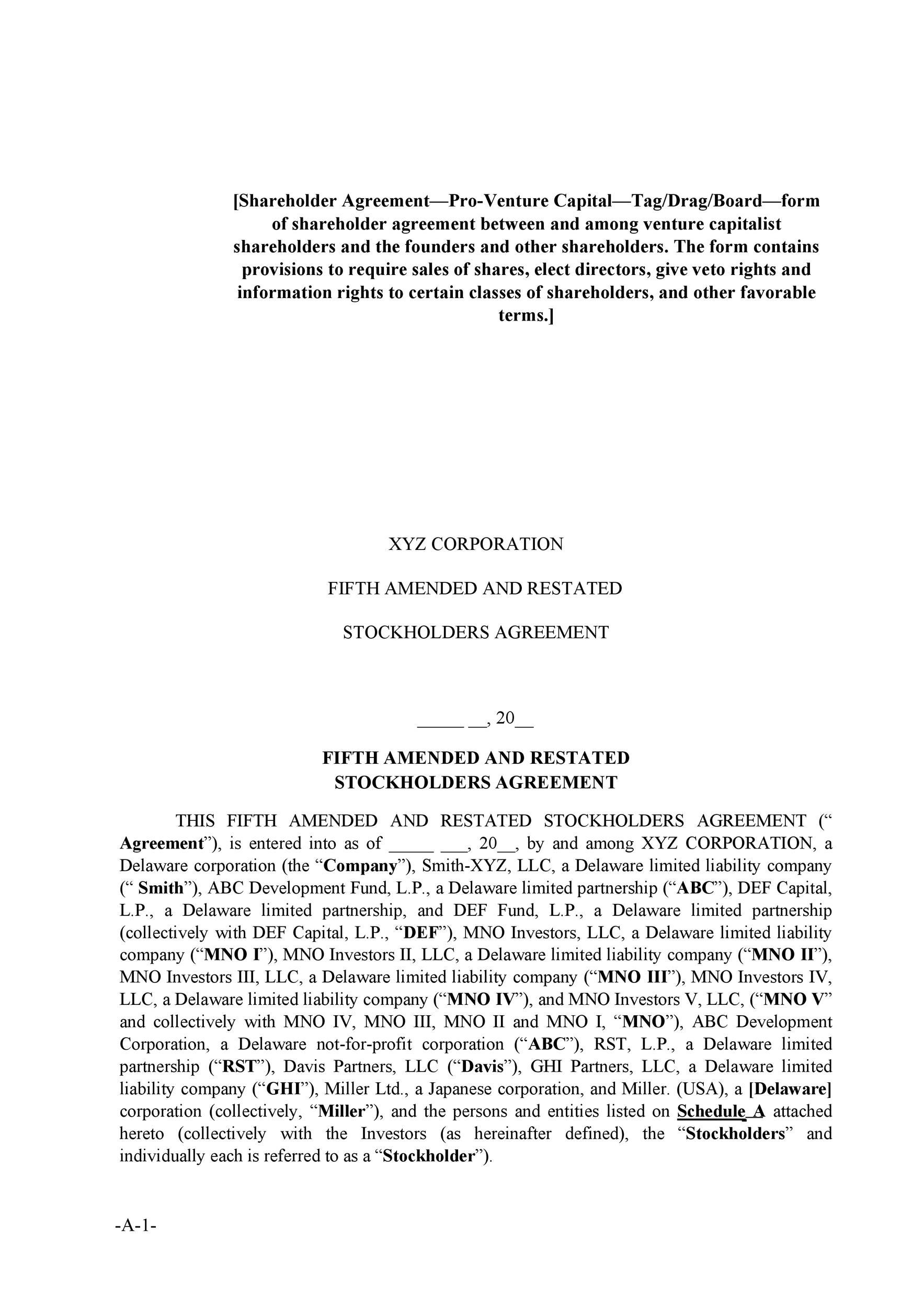 Free shareholder agreement 22