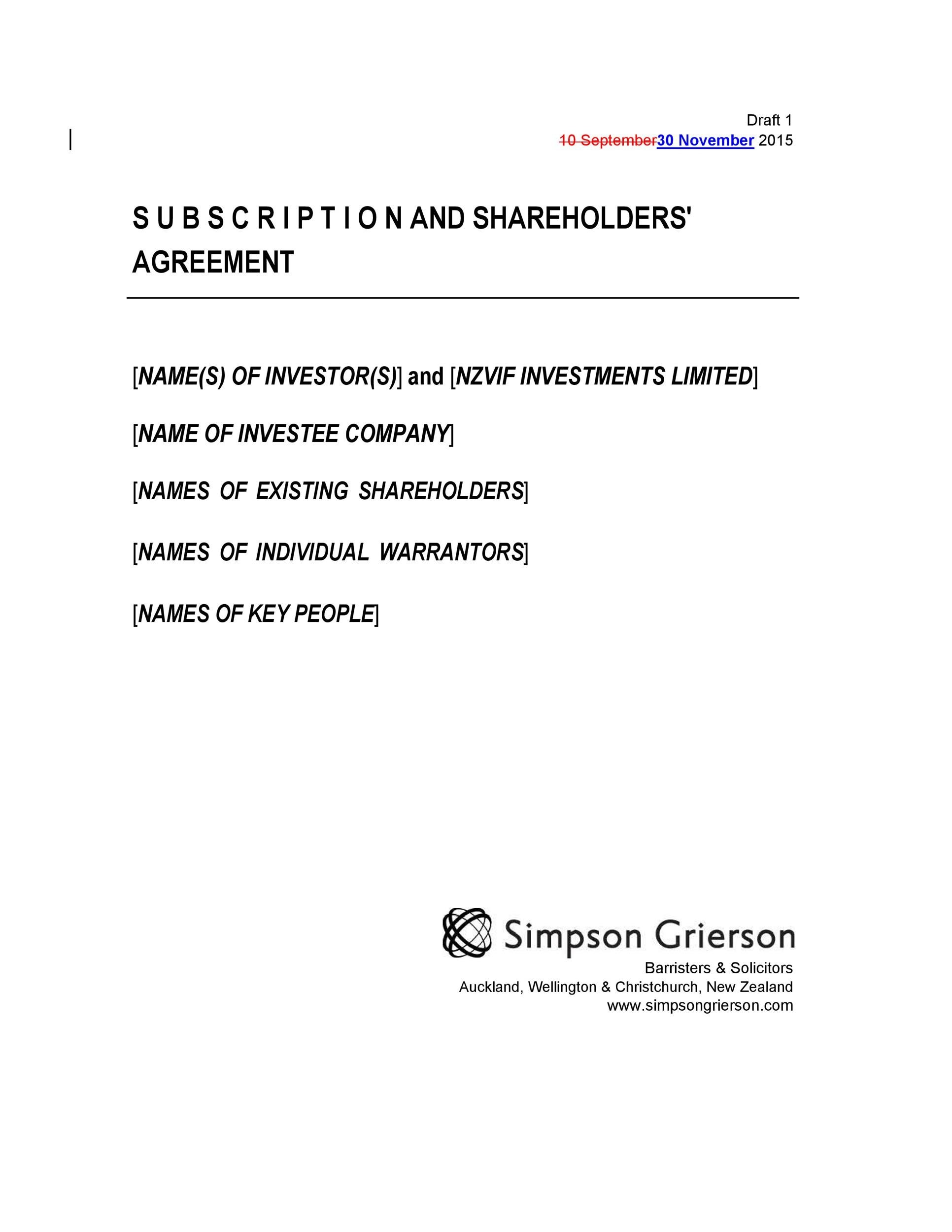 Free shareholder agreement 26