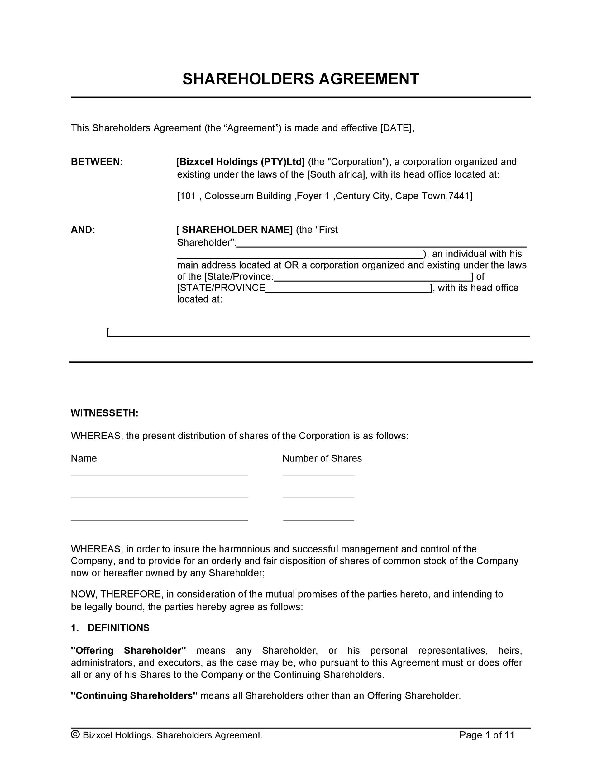Free shareholder agreement 27