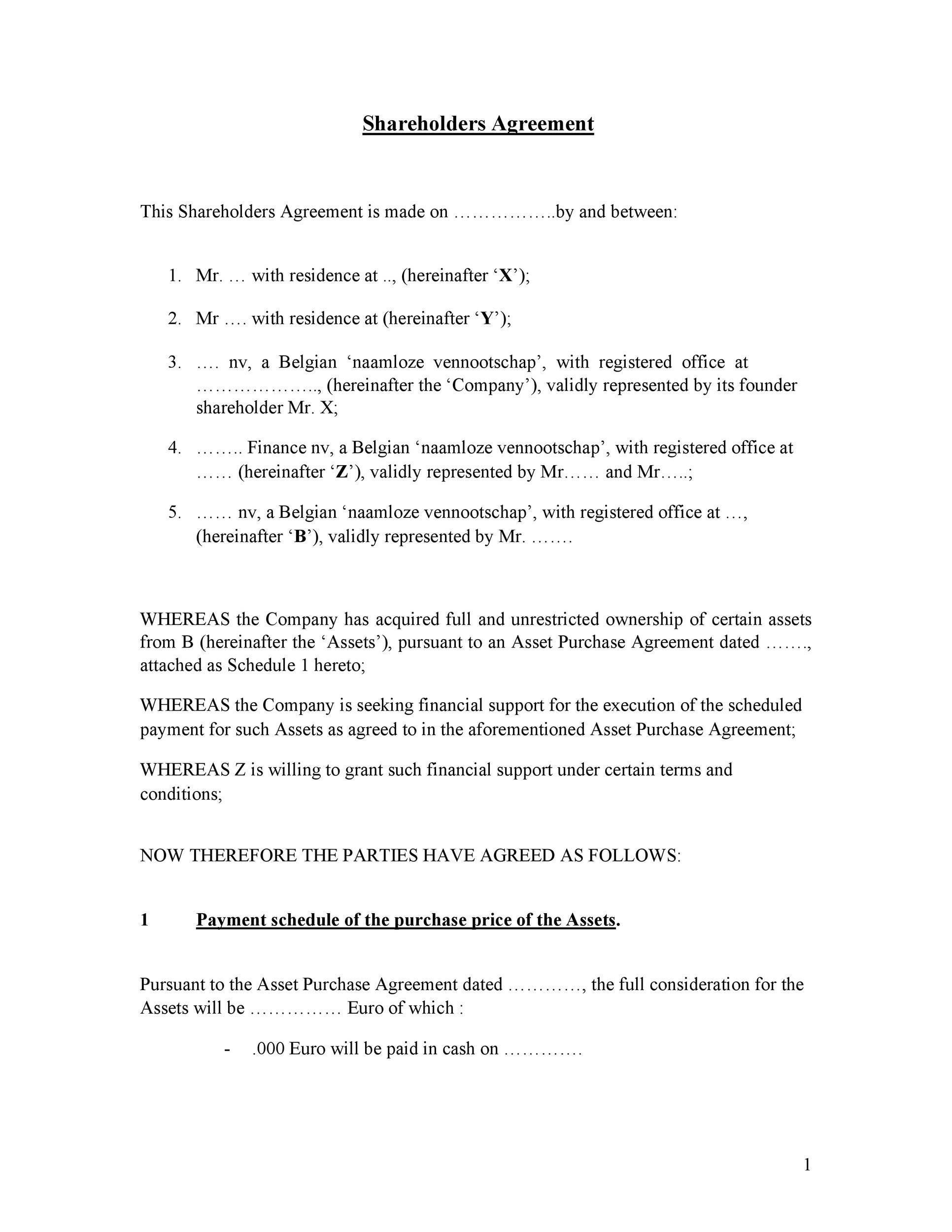Free shareholder agreement 31