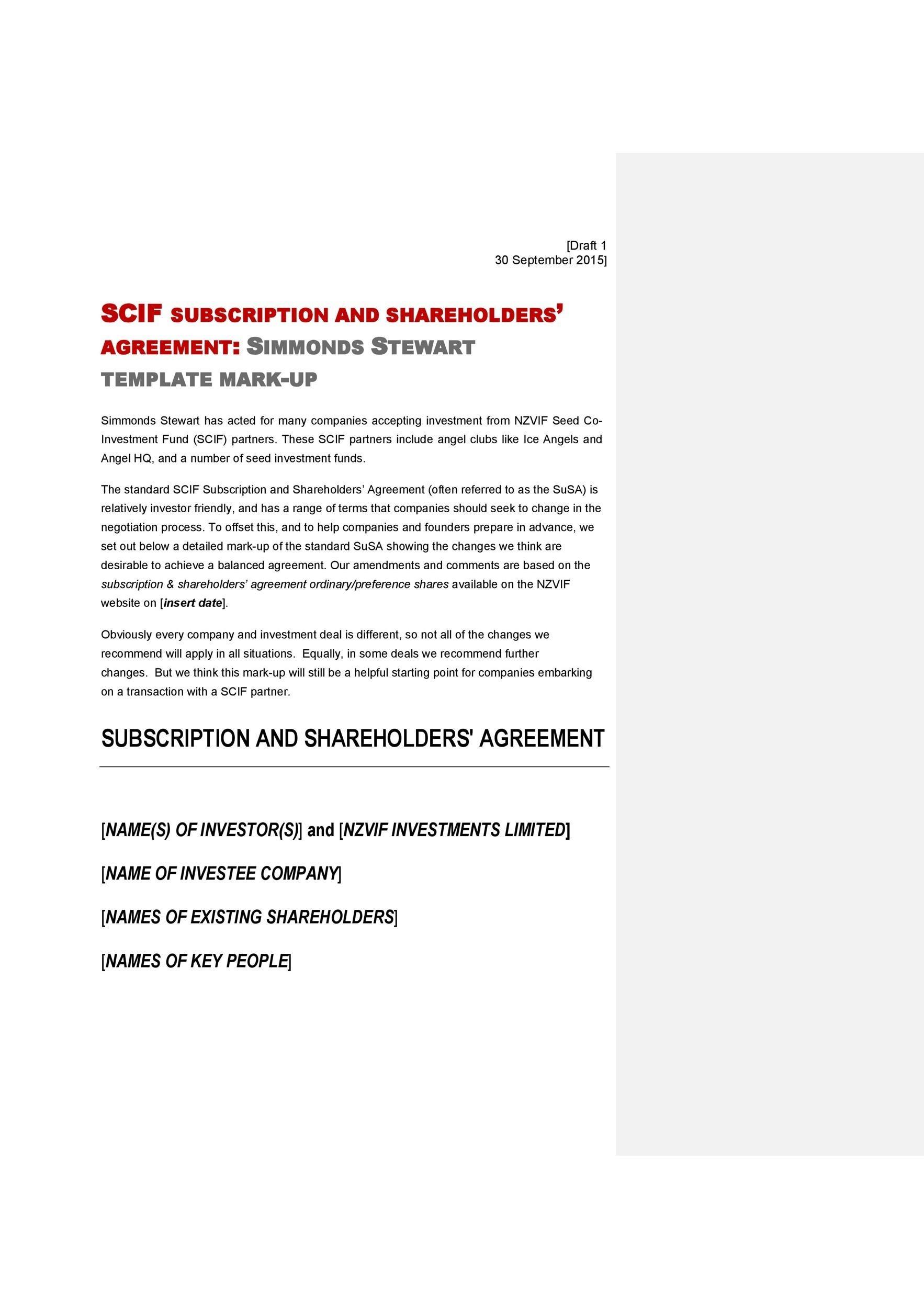 Free shareholder agreement 34