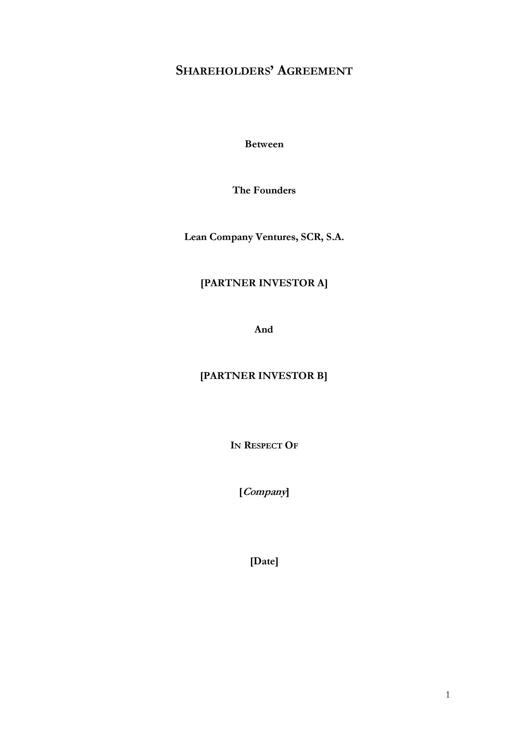 Free shareholder agreement 38
