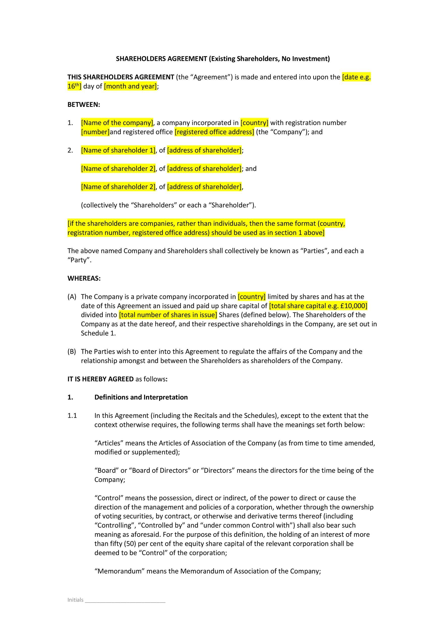 Free shareholder agreement 39