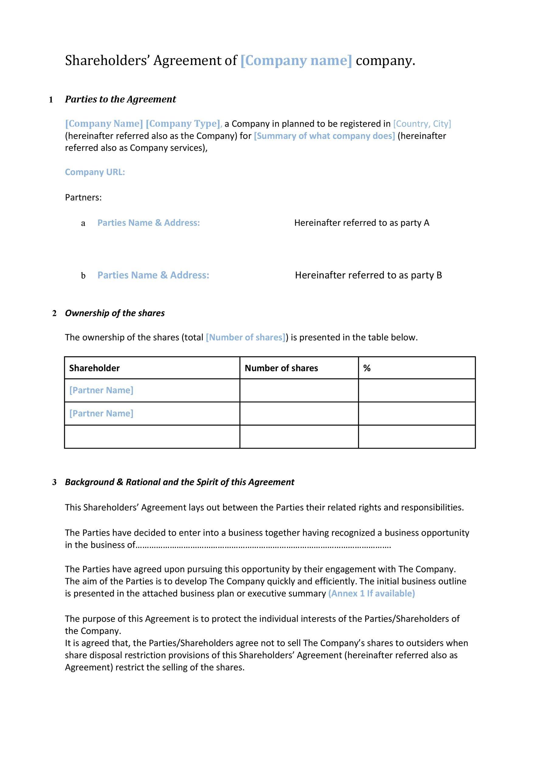 Free shareholder agreement 40