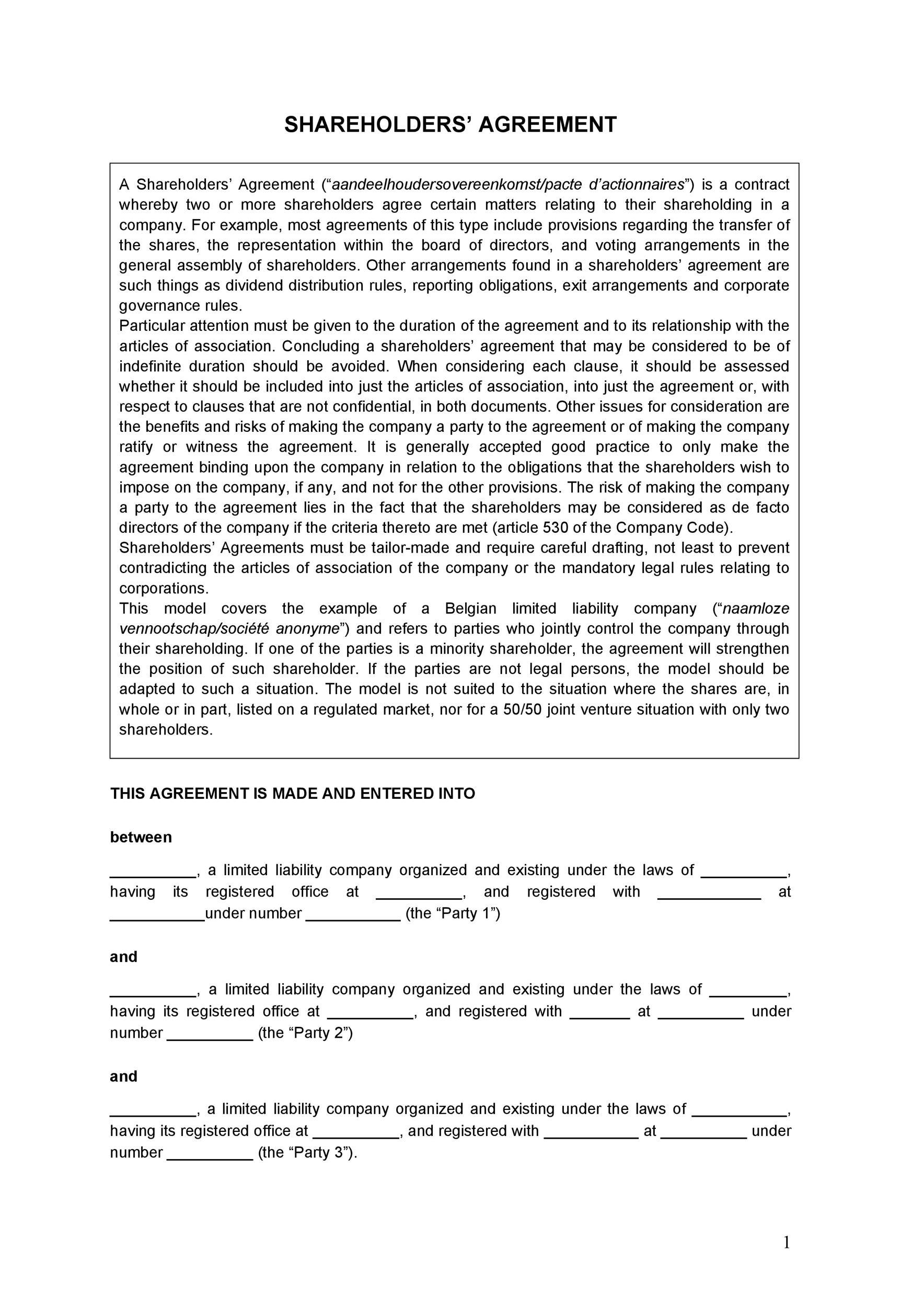 Free shareholder agreement 42