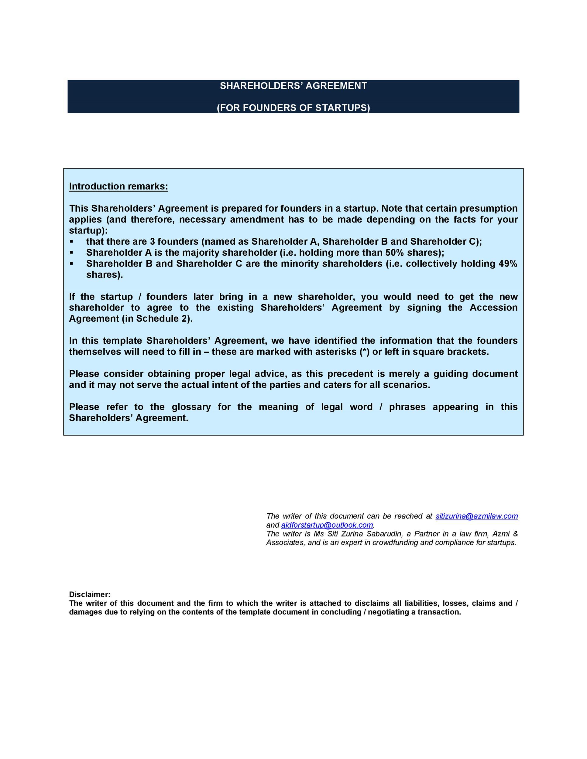 Free shareholder agreement 45