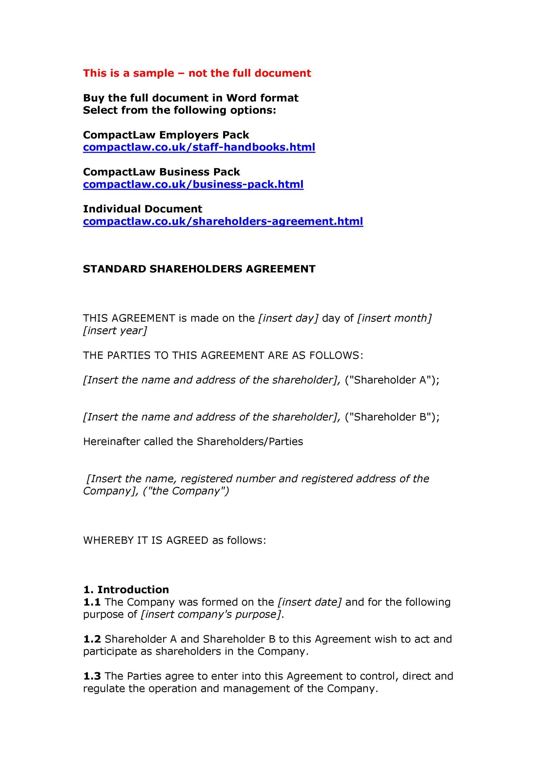Free shareholder agreement 46