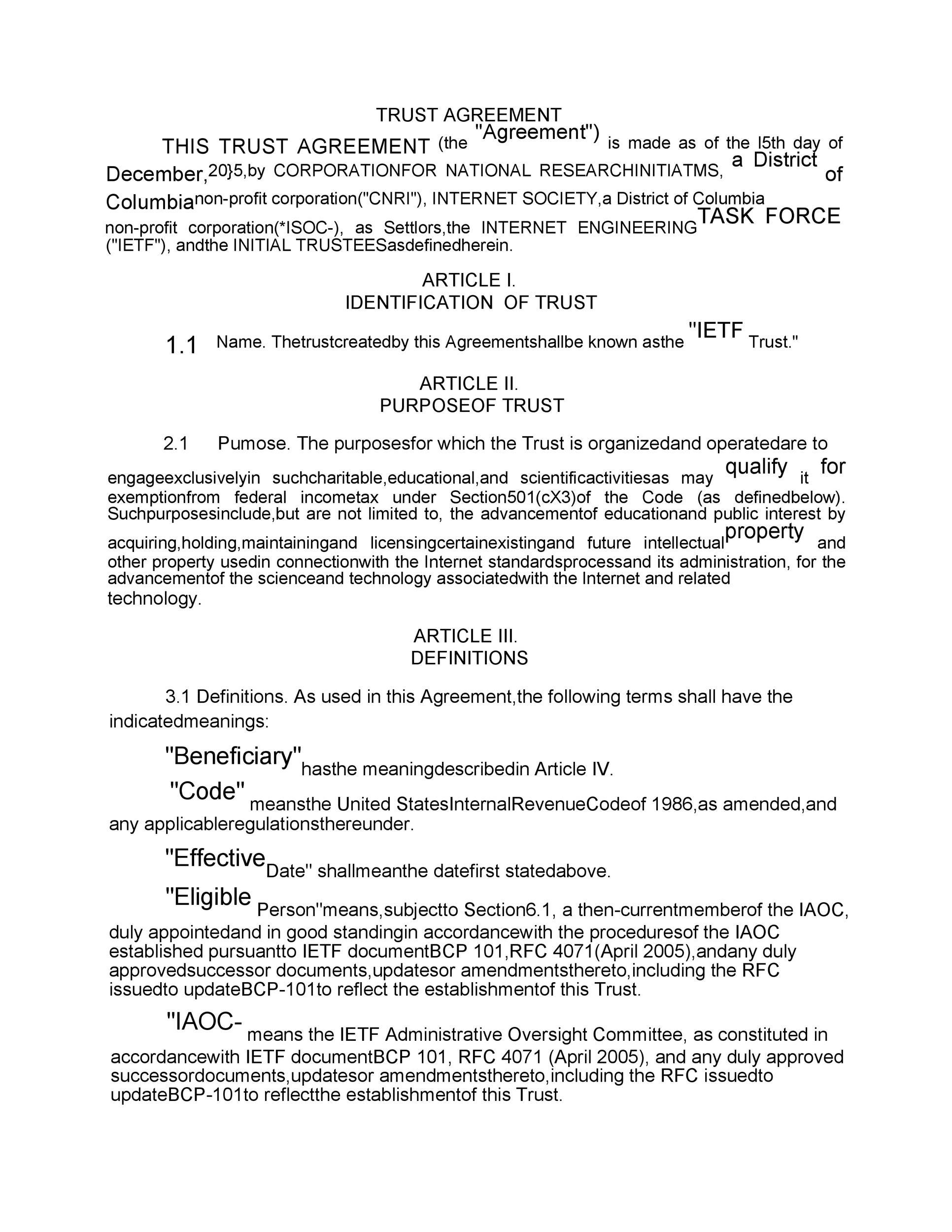 Free trust agreement 02