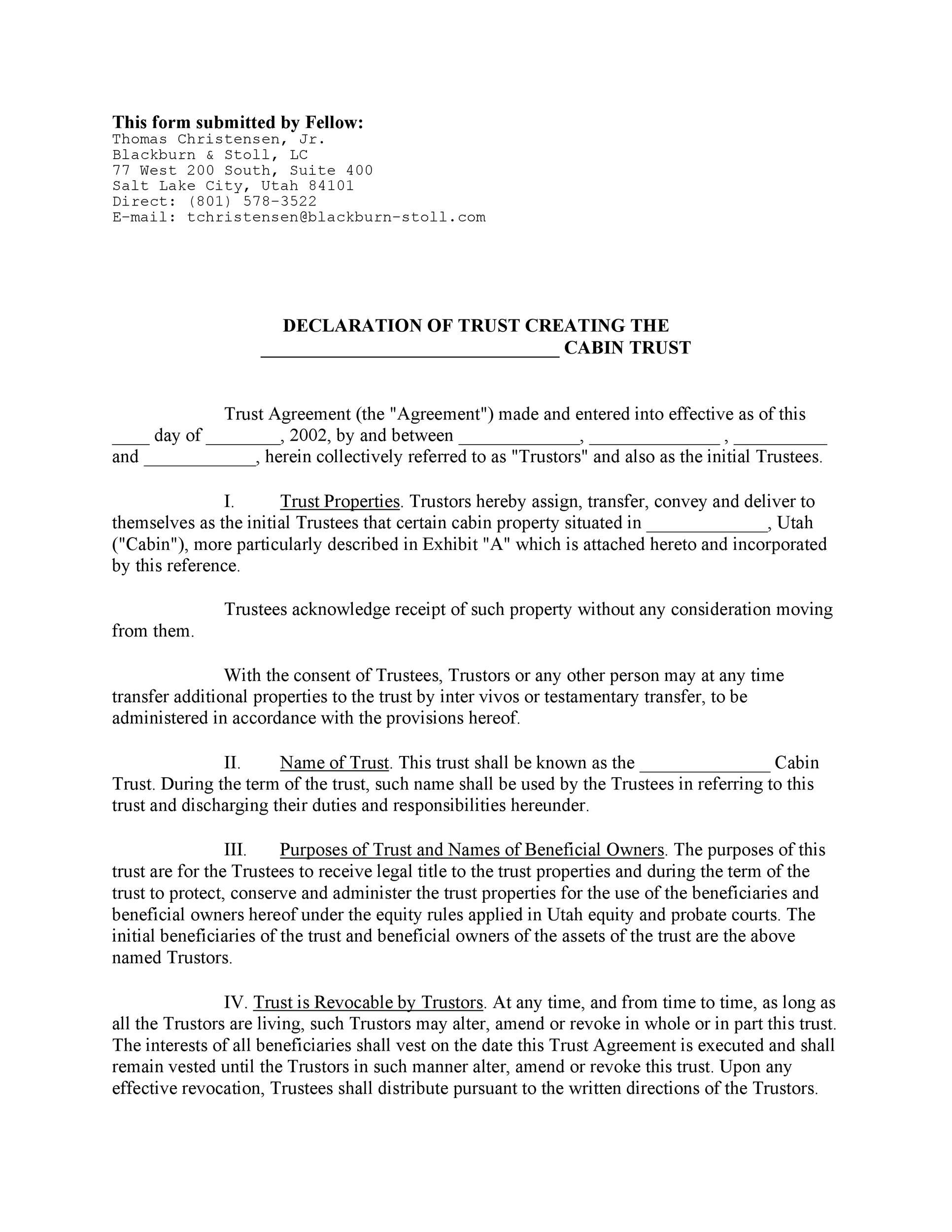 Free trust agreement 07