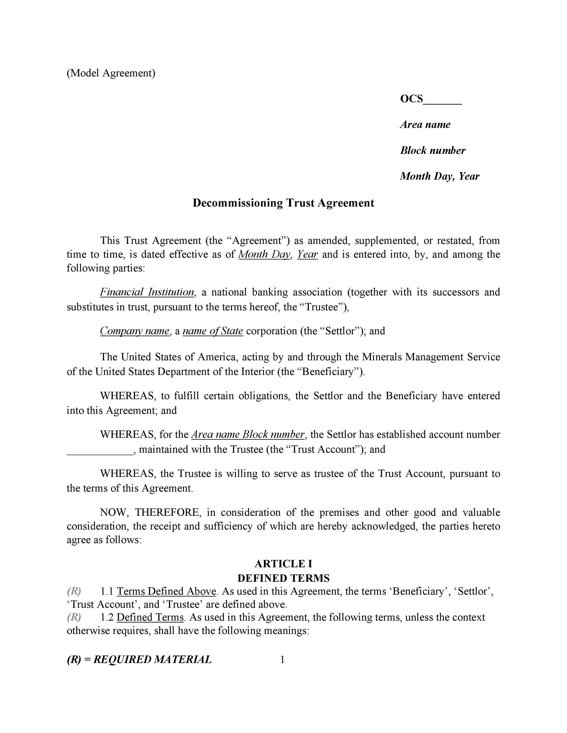 Free trust agreement 11