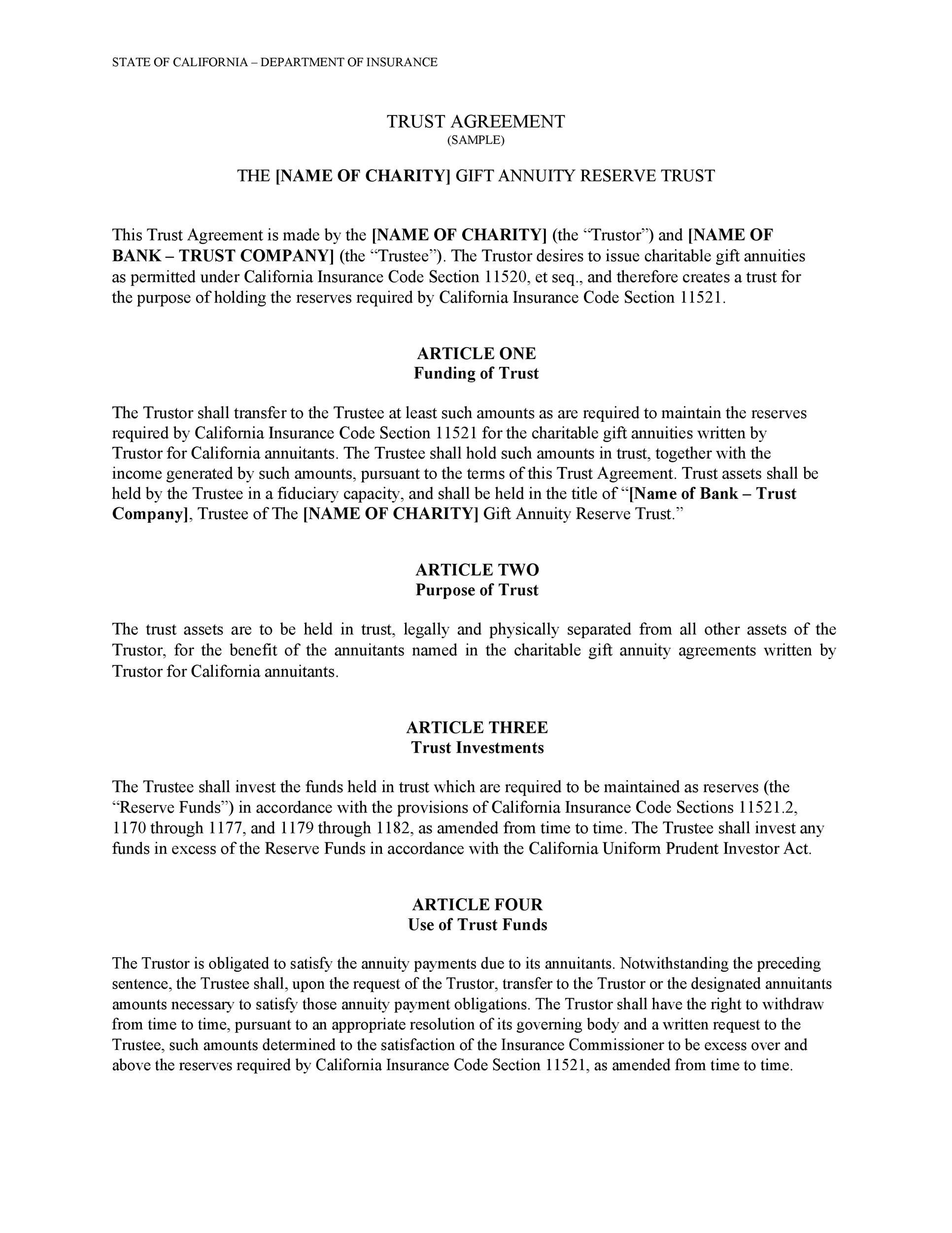 Free trust agreement 21
