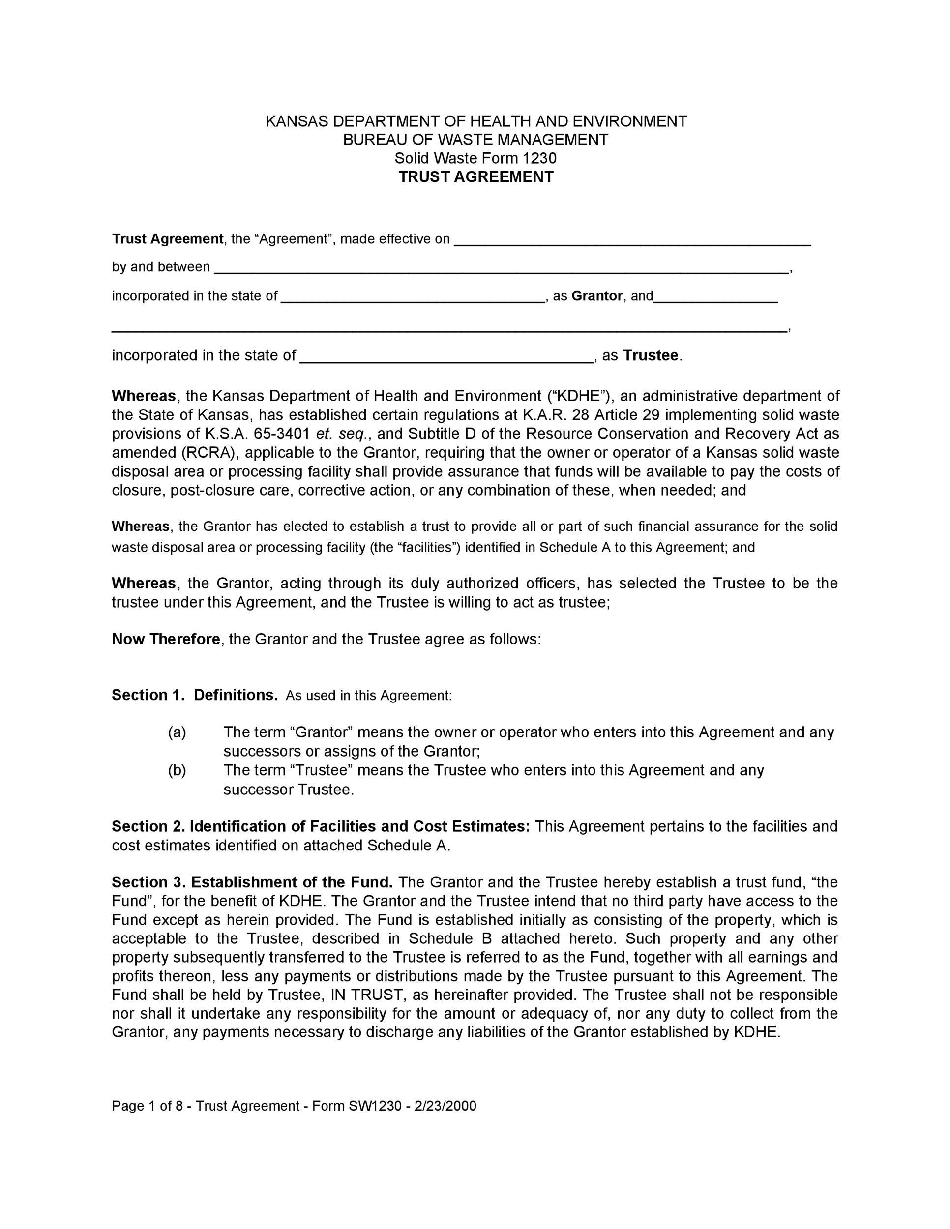 Free trust agreement 37