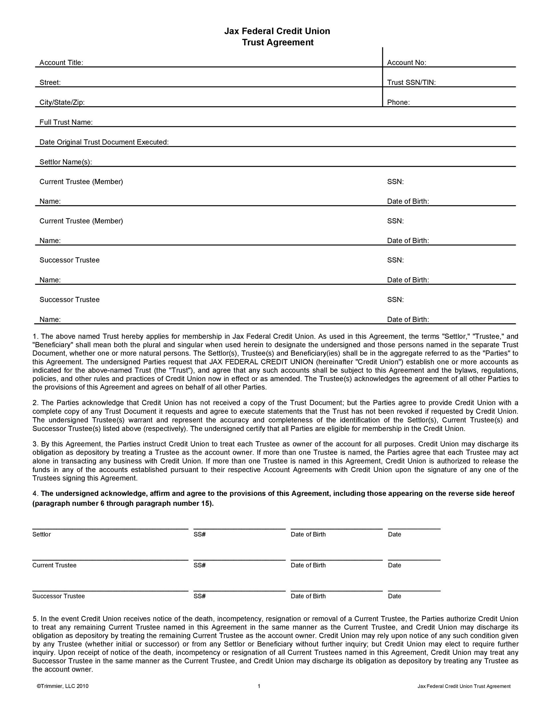 Free trust agreement 40