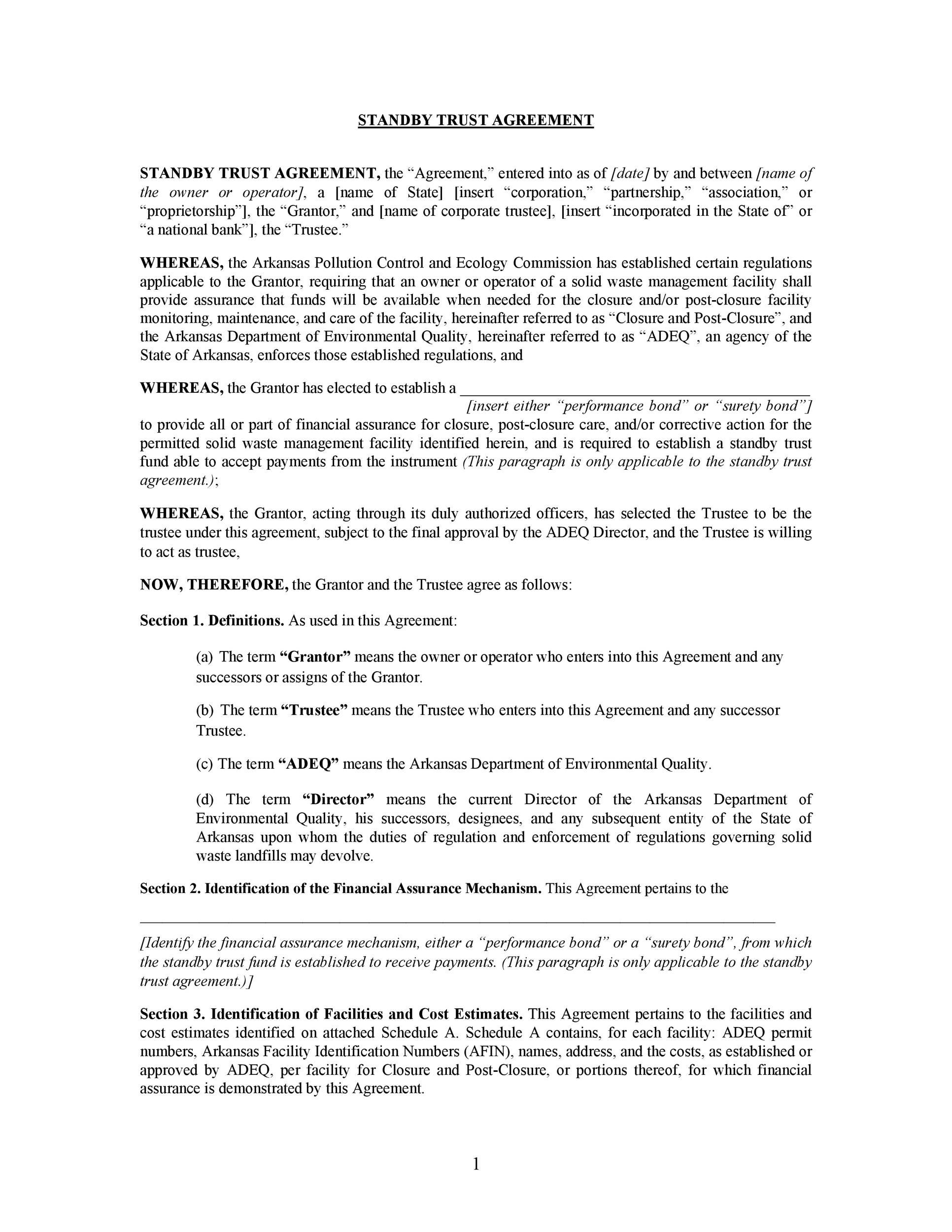 Free trust agreement 41