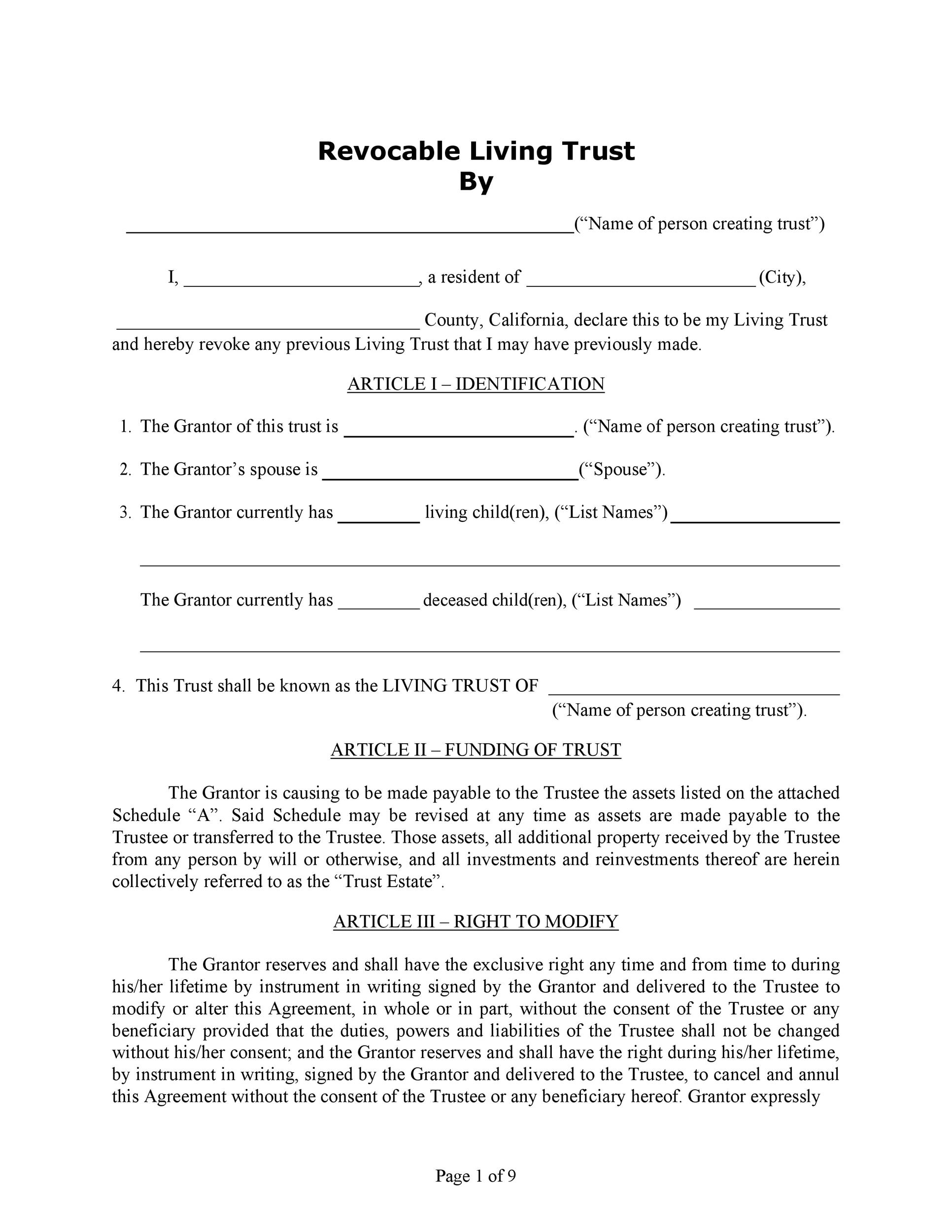 Free trust agreement 44