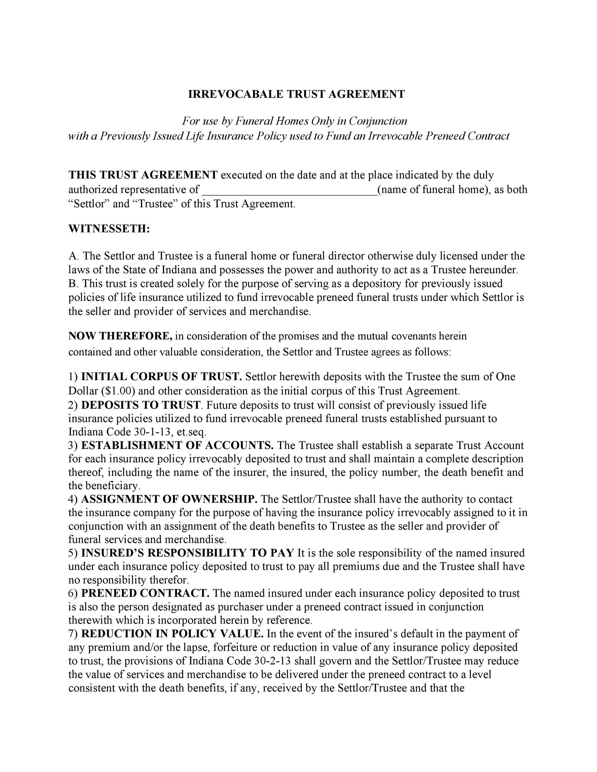 Free trust agreement 48