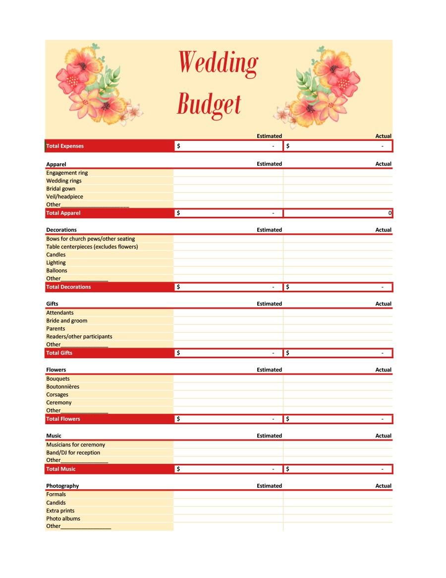 Free weeding budget spreadsheet 02