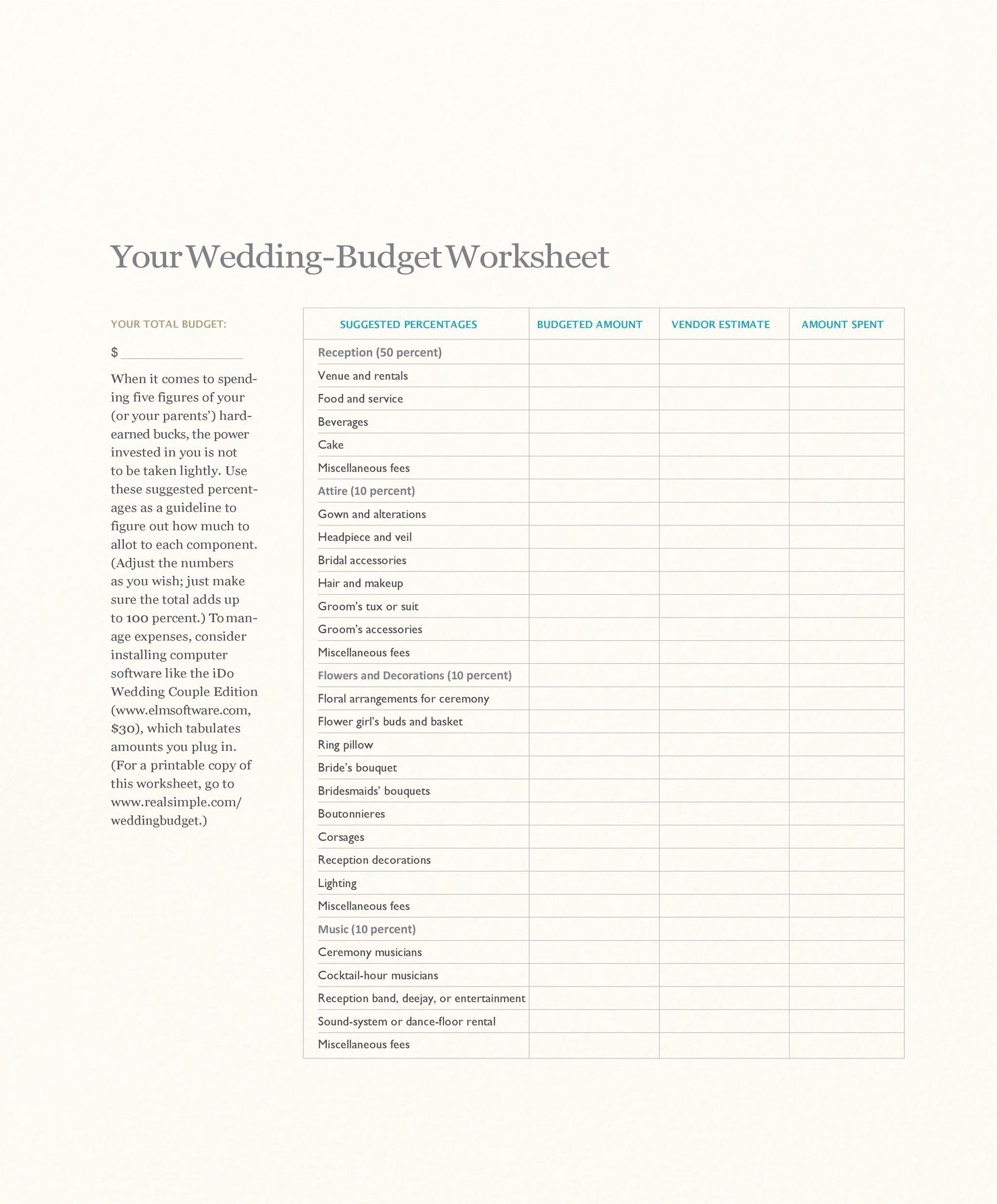 Free weeding budget spreadsheet 08