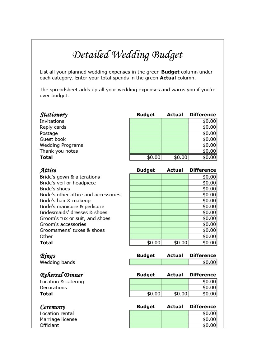 Free weeding budget spreadsheet 09