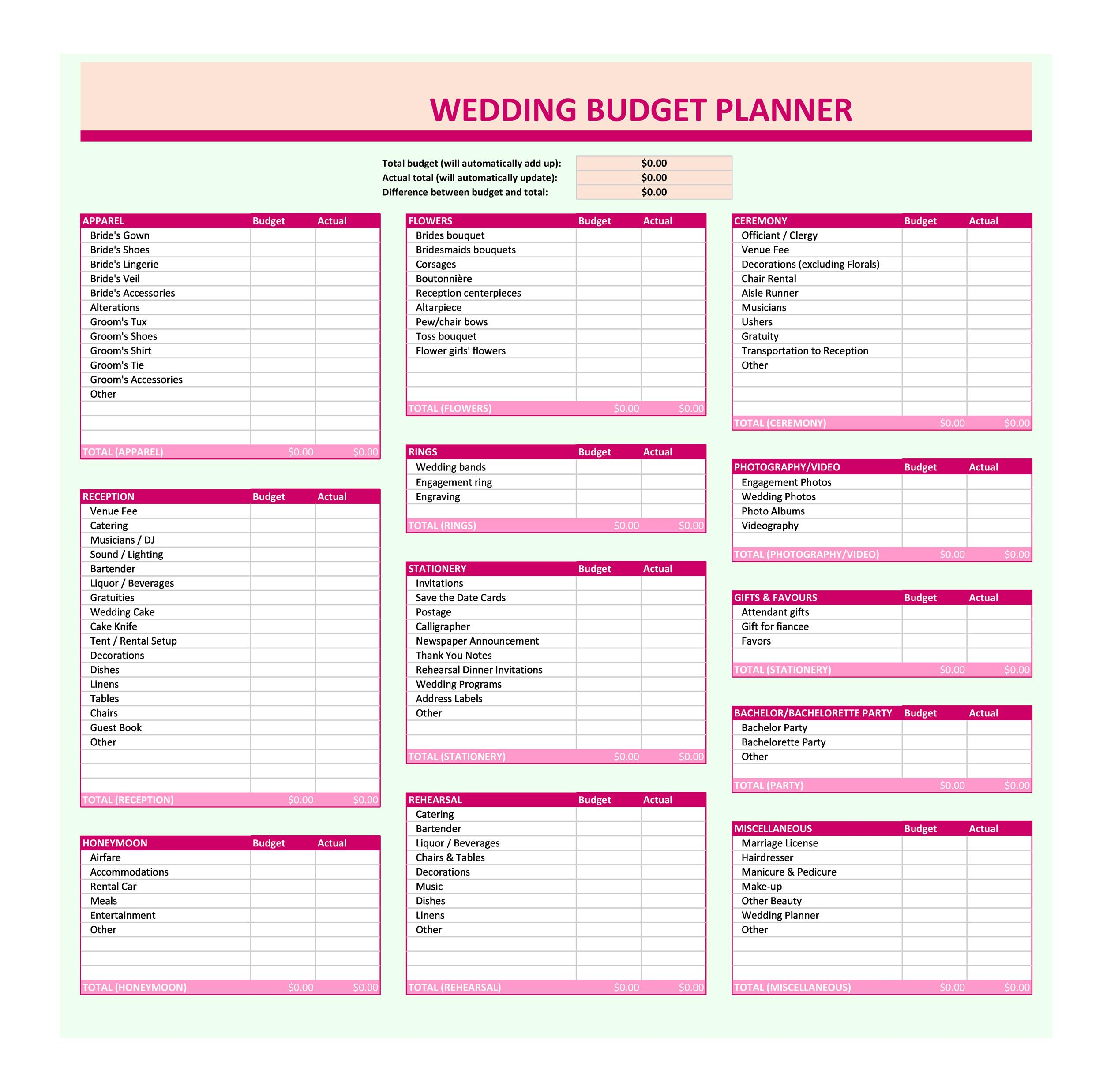 38 Great Wedding Budget Spreadsheets Tips Á… Templatelab