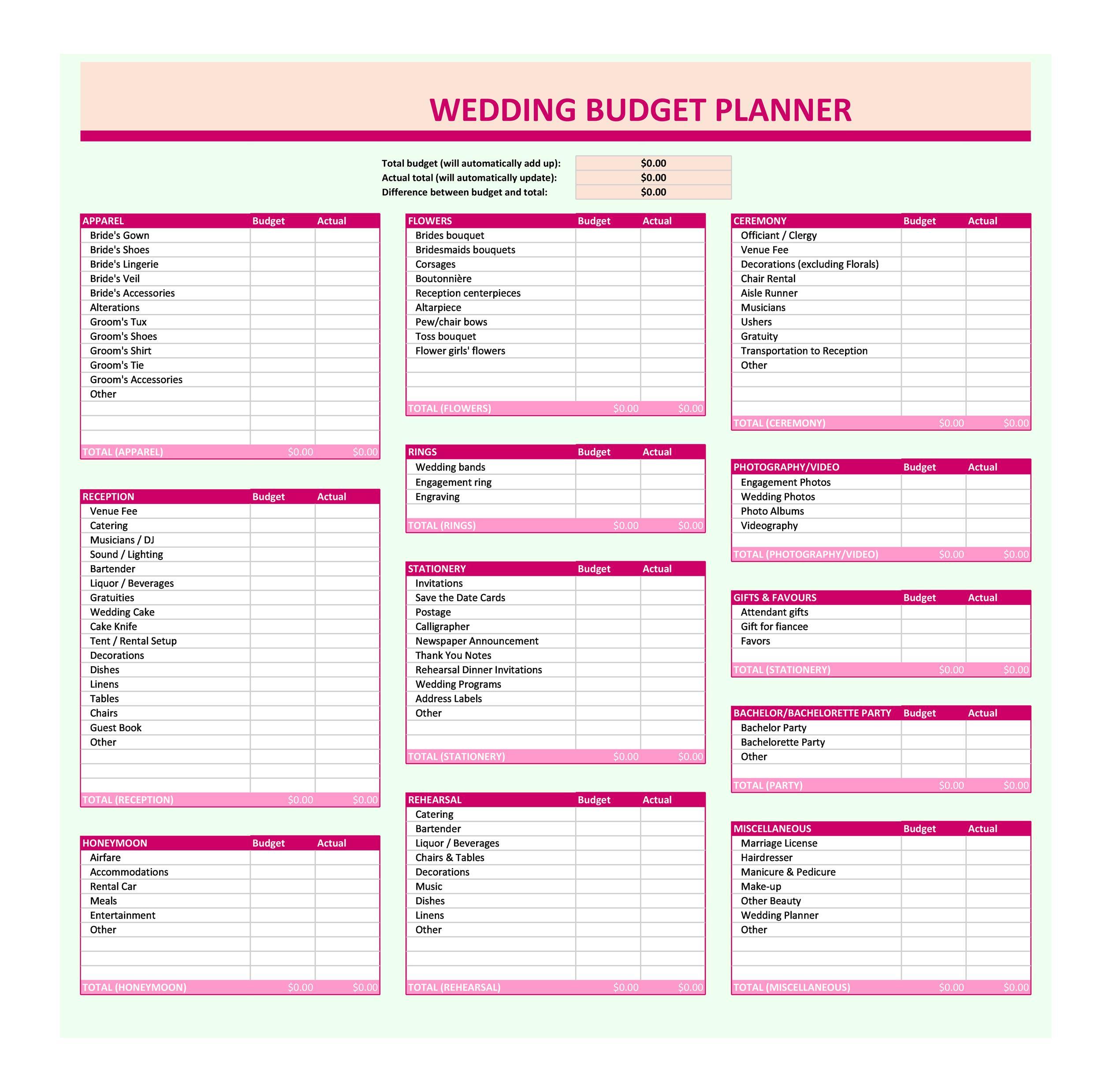 Free weeding budget spreadsheet 13