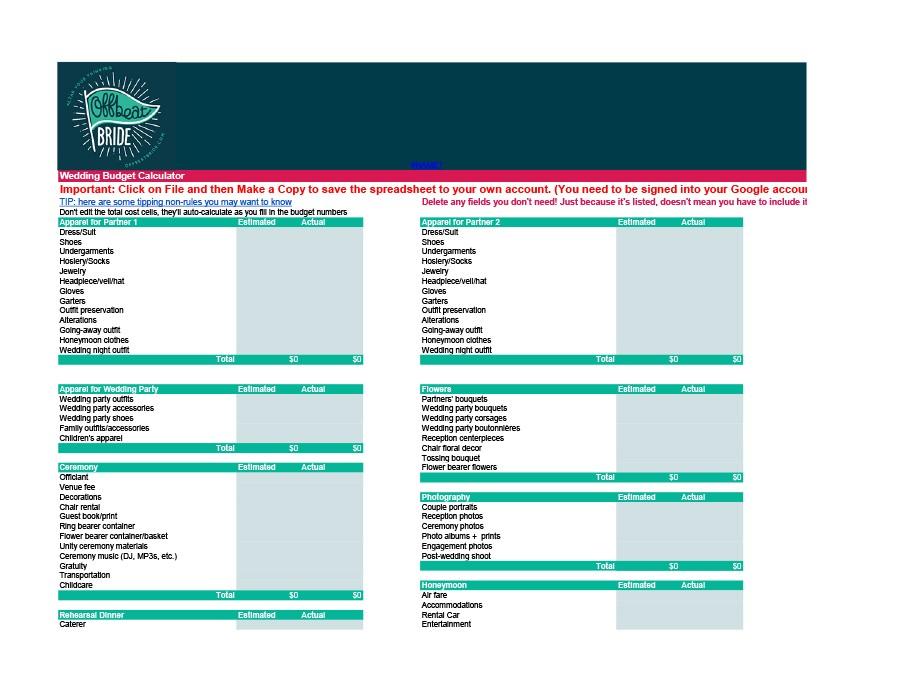 Free weeding budget spreadsheet 14