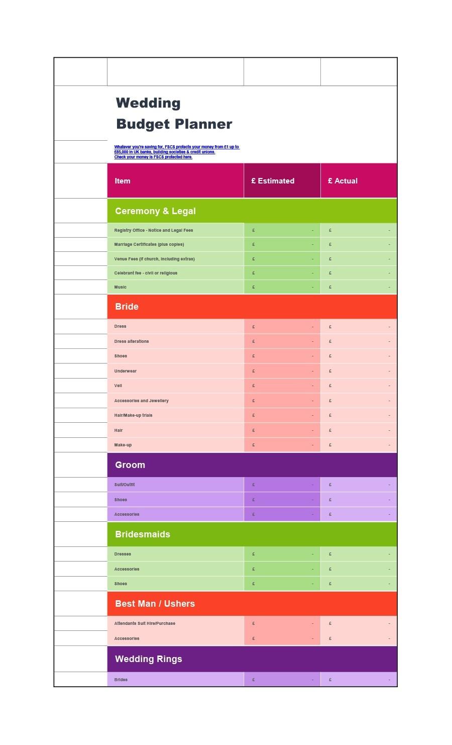 Free weeding budget spreadsheet 17