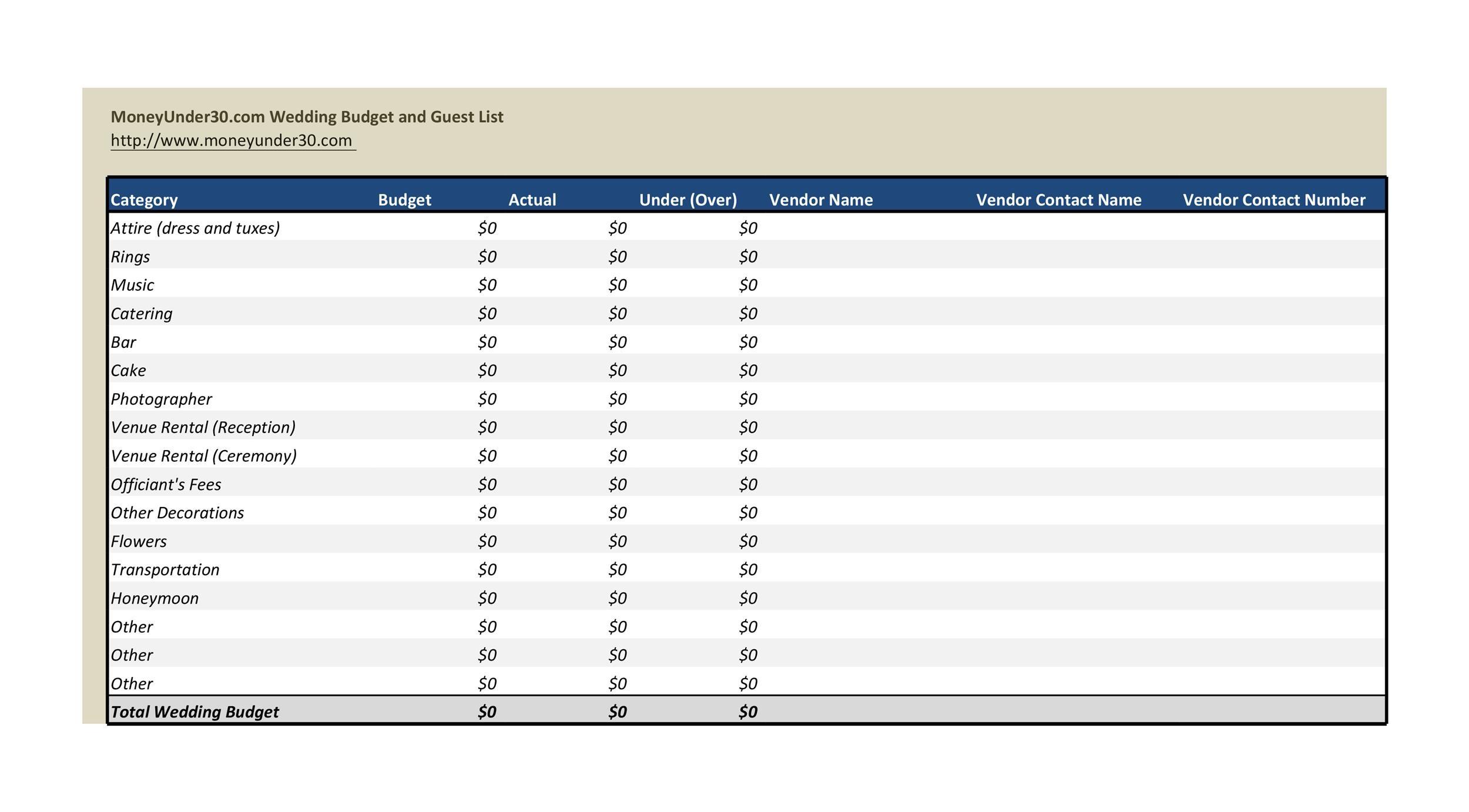 Free weeding budget spreadsheet 19