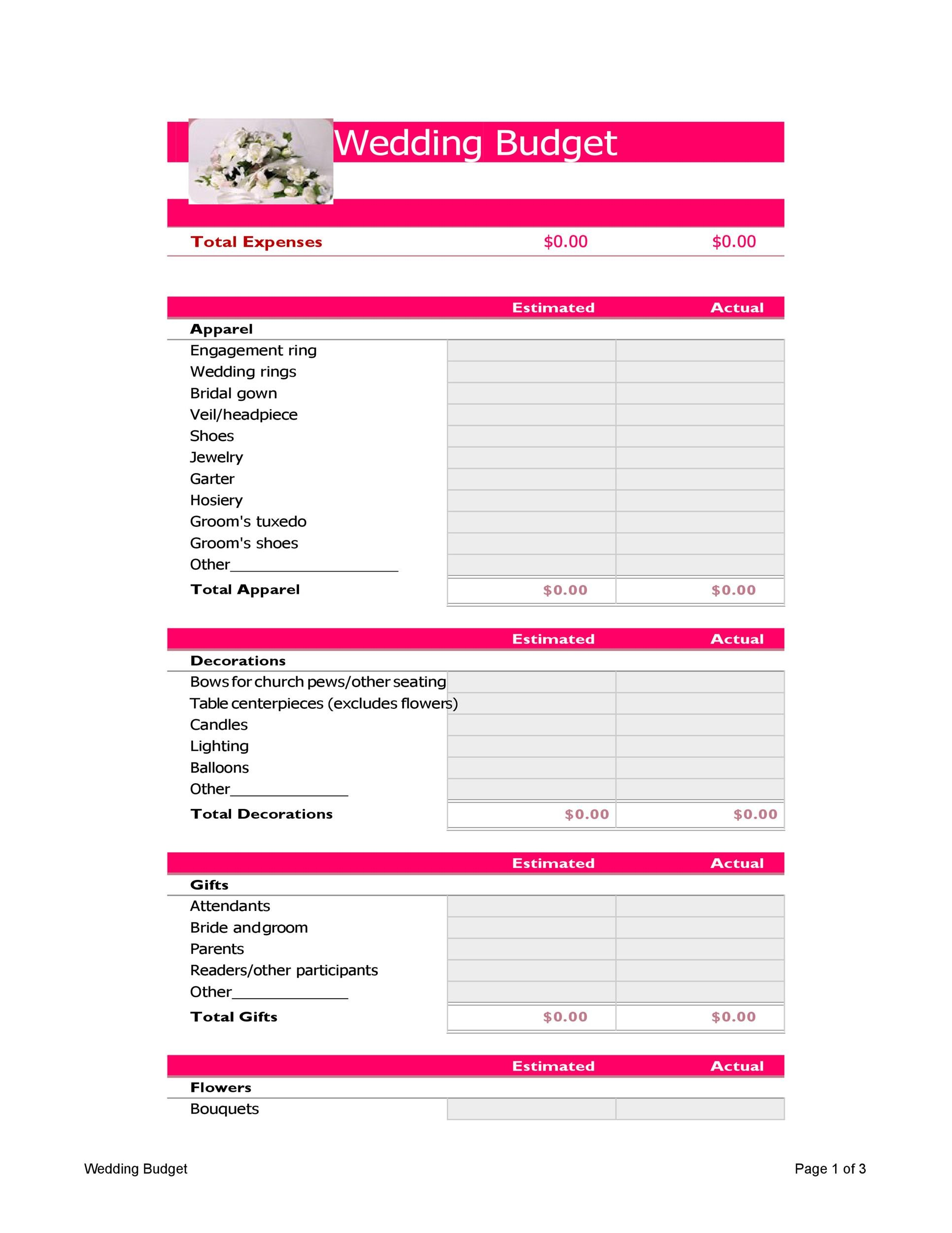 Free weeding budget spreadsheet 27