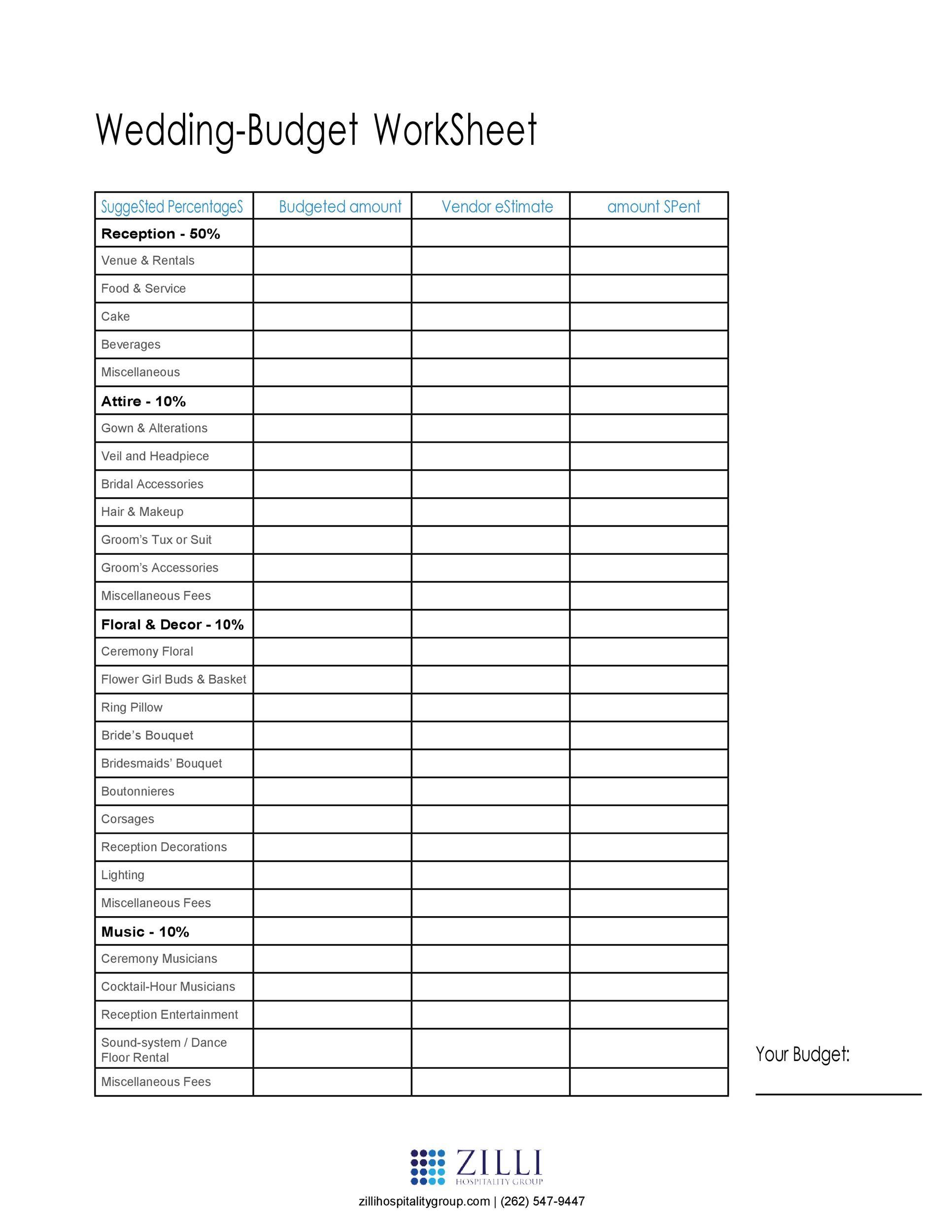 Free weeding budget spreadsheet 32