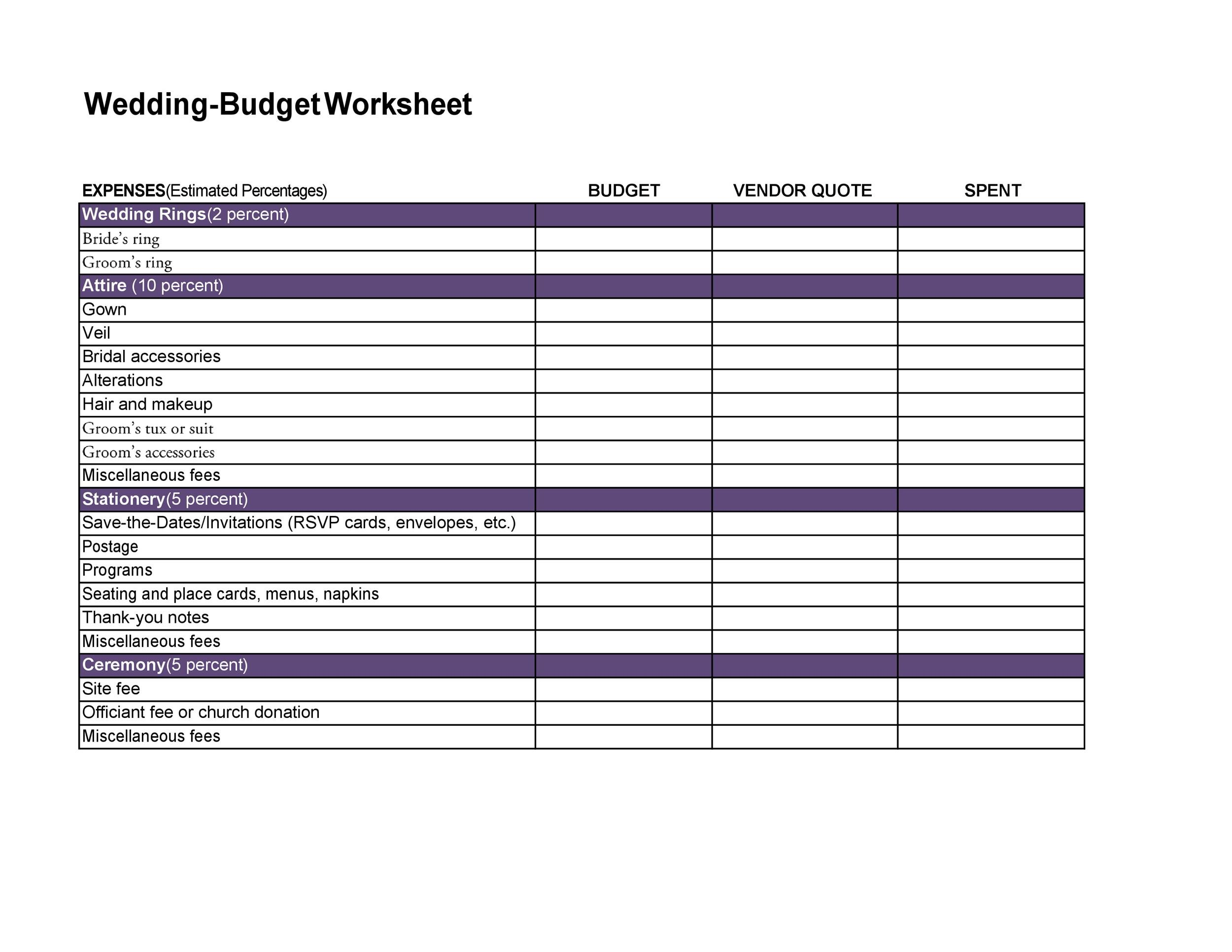 Free weeding budget spreadsheet 34