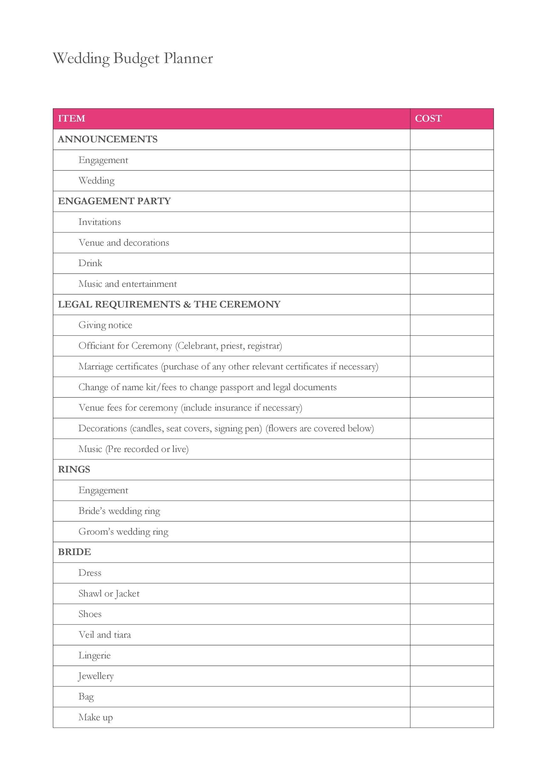 Free weeding budget spreadsheet 40