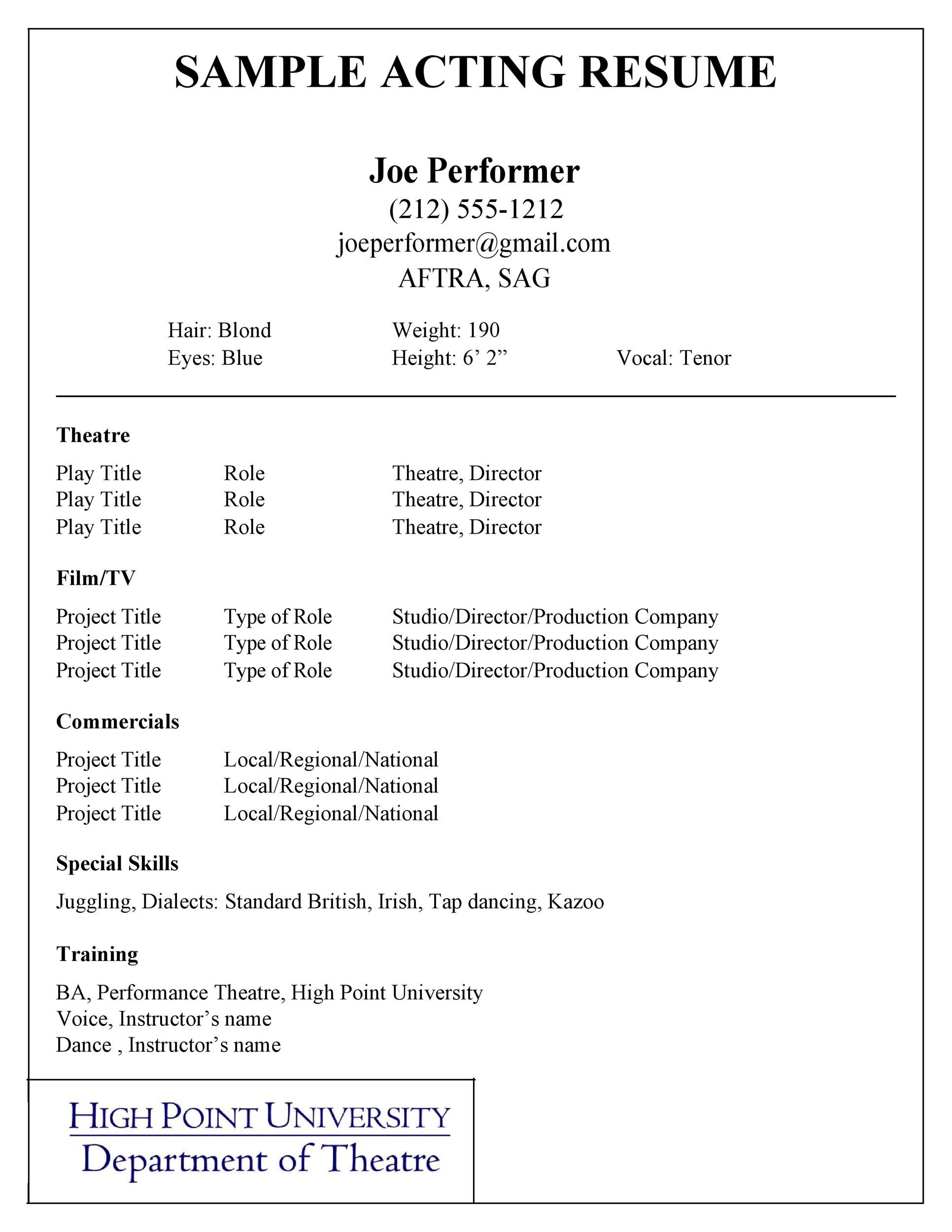 50 Free Acting Resume Templates Word Google Docs ᐅ
