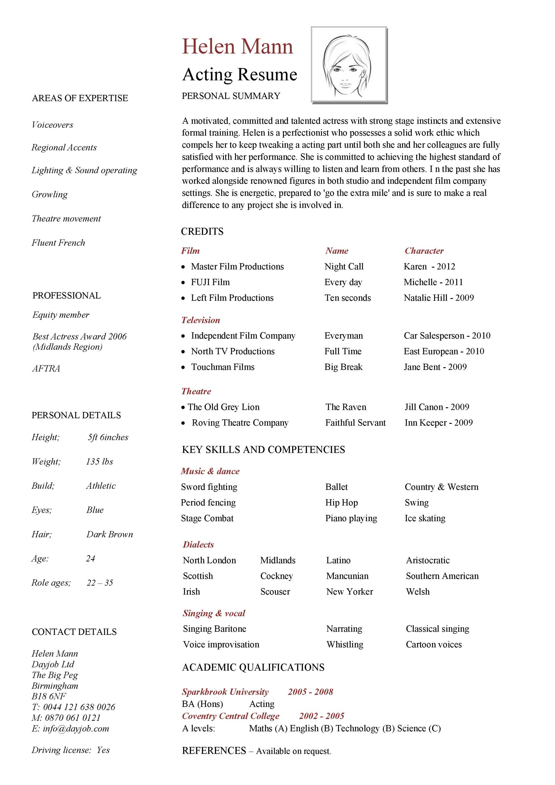 Free acting resume template 02