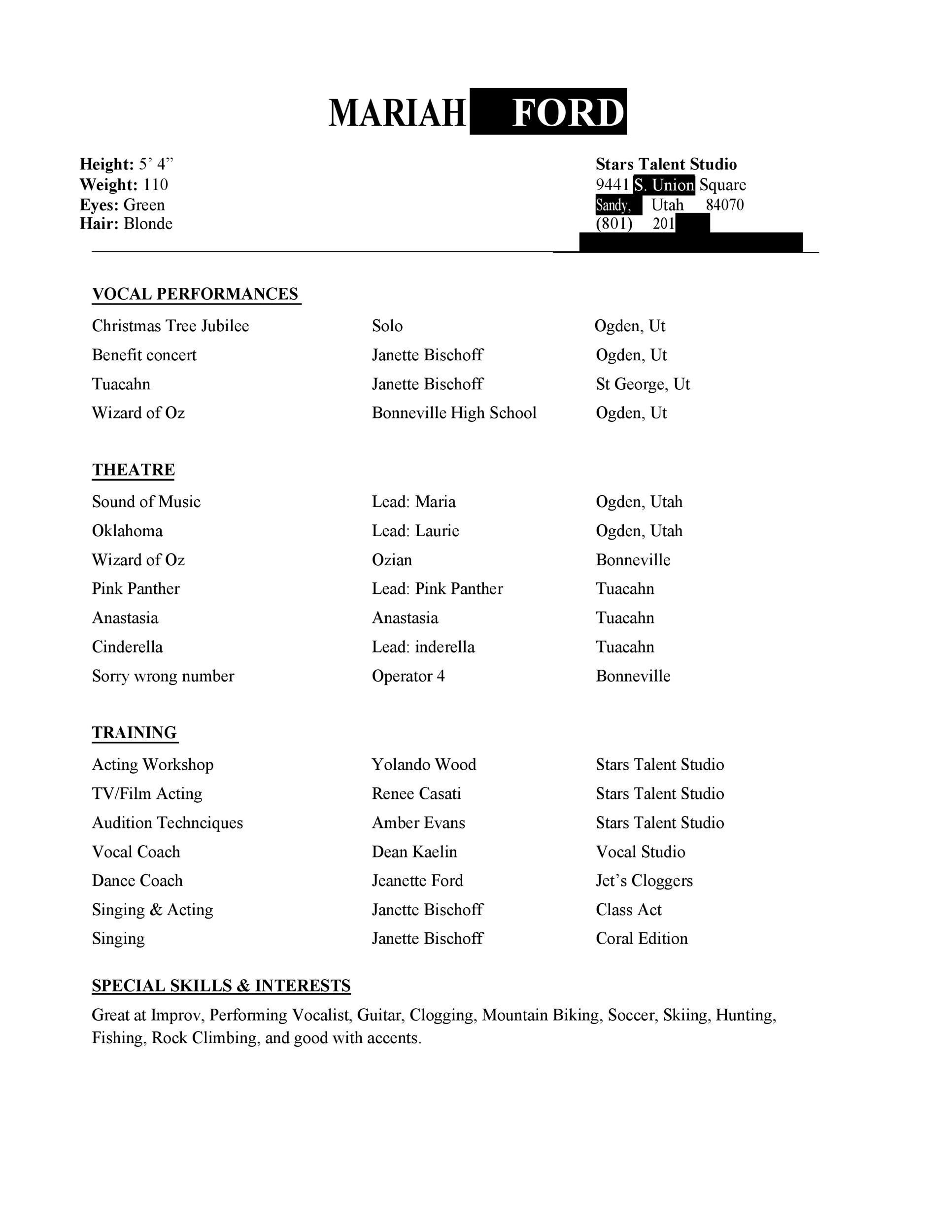 50 FREE Acting Resume Templates (Word & Google Docs) ᐅ ...