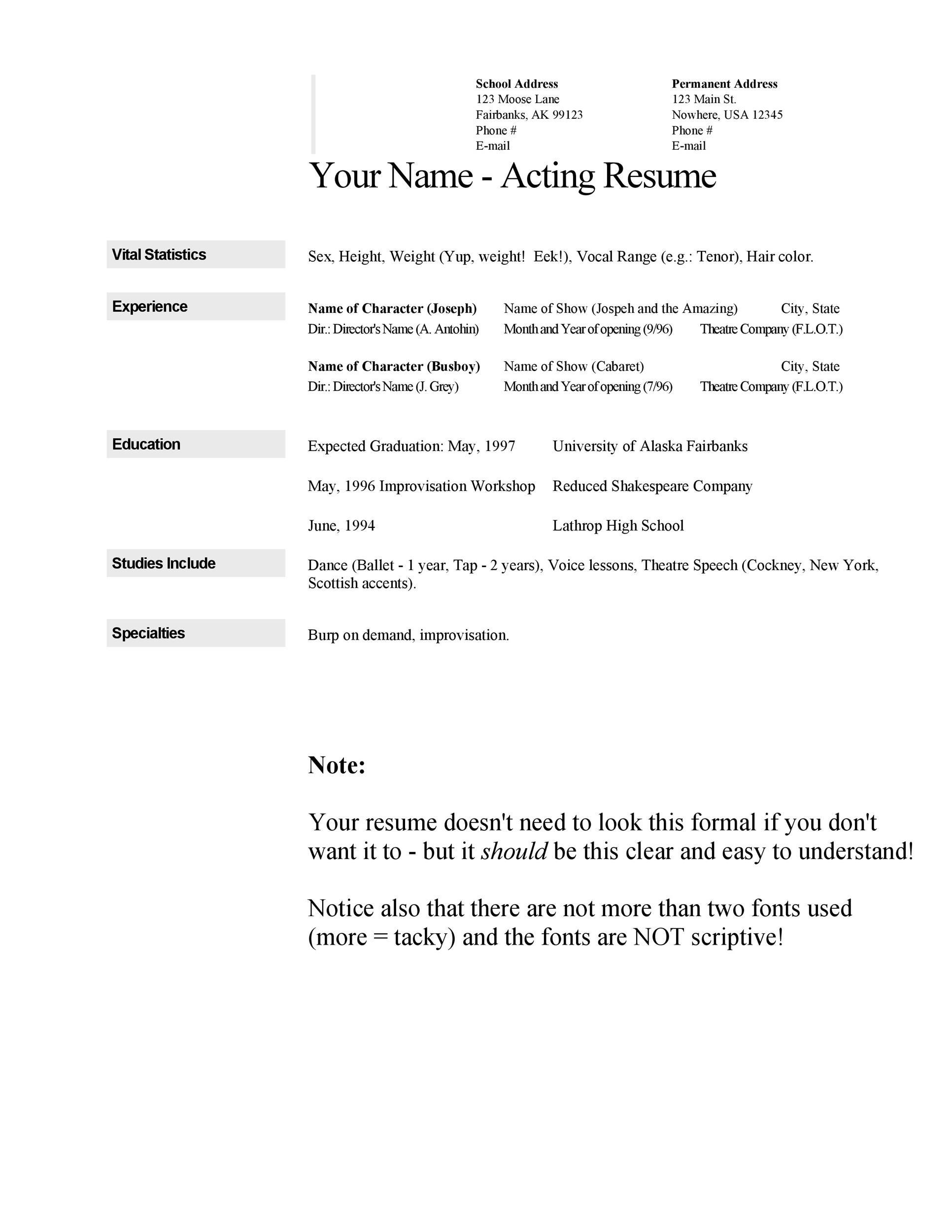 50 FREE Acting Resume Templates (Word & Google Docs) ᐅ