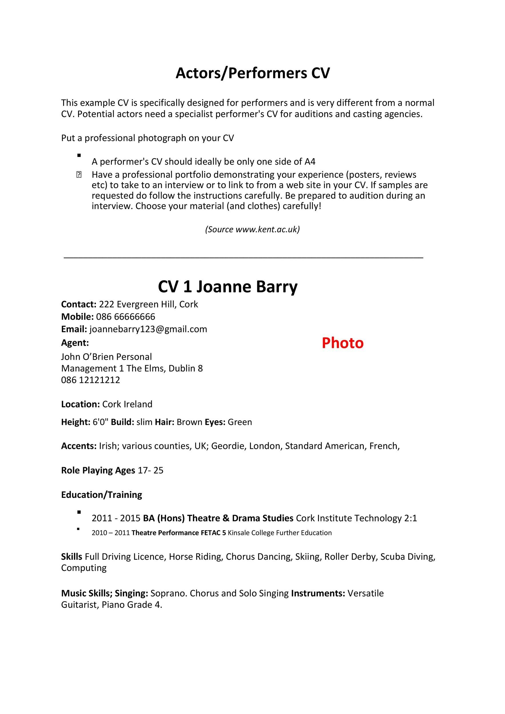 Free acting resume template 15