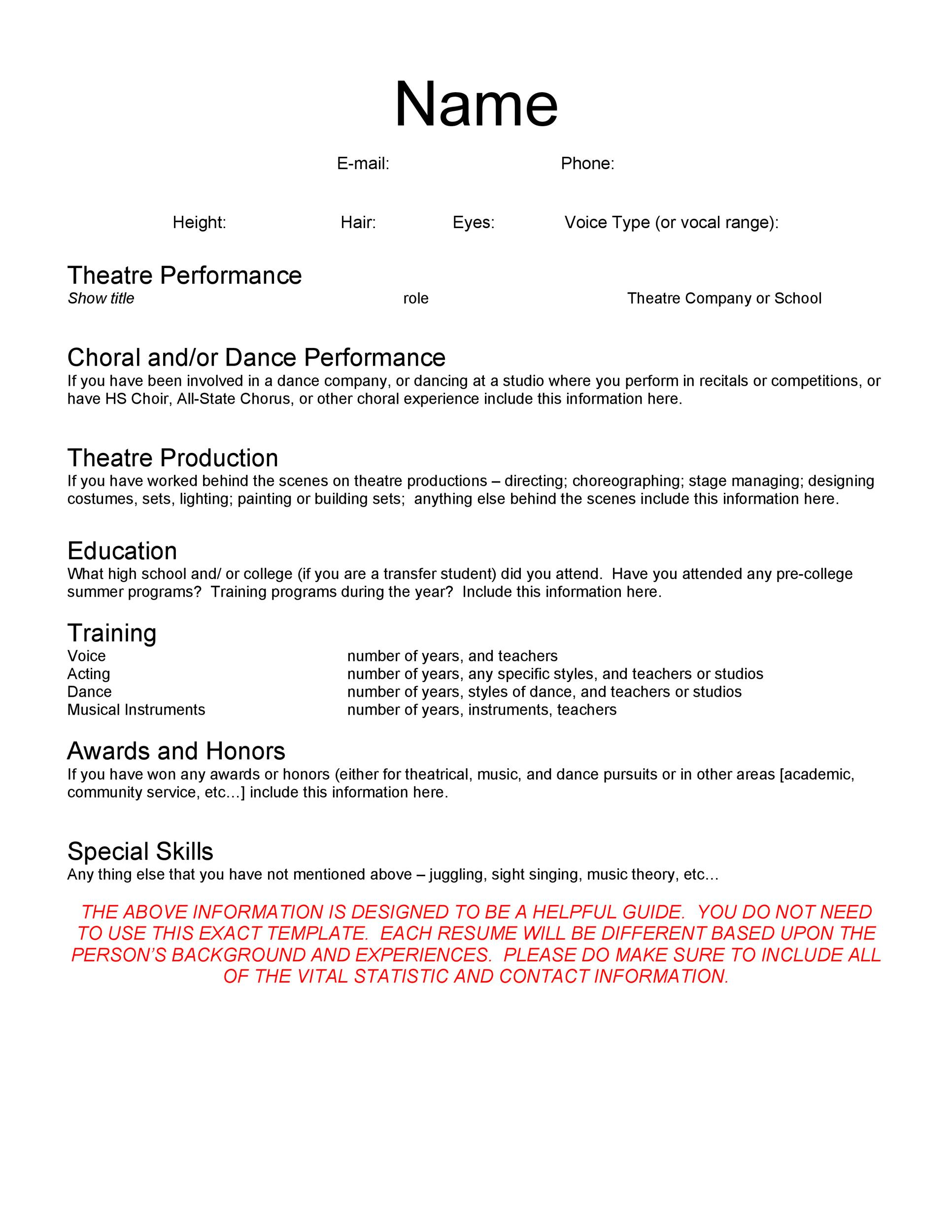 Free acting resume template 16