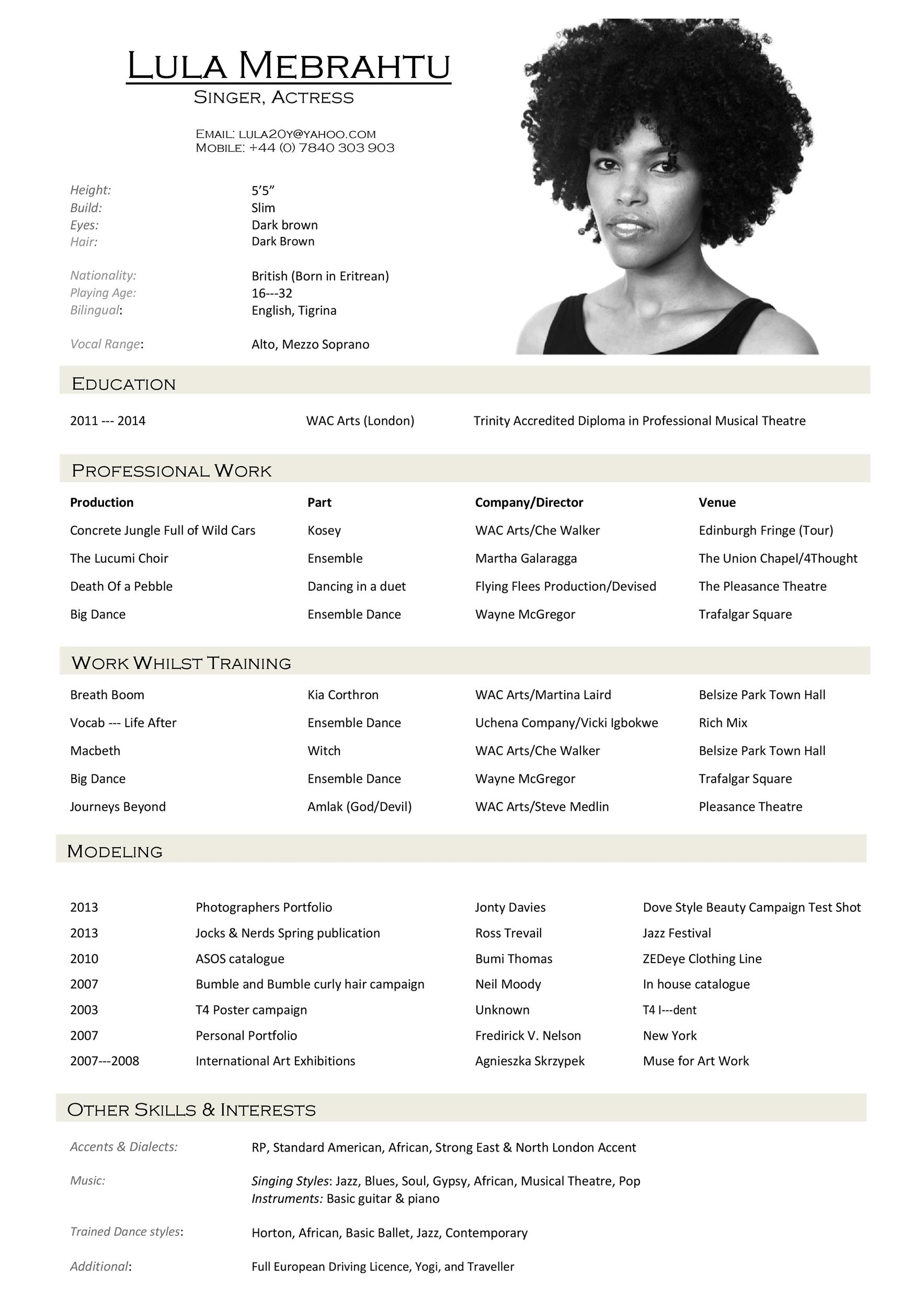 Free acting resume template 17