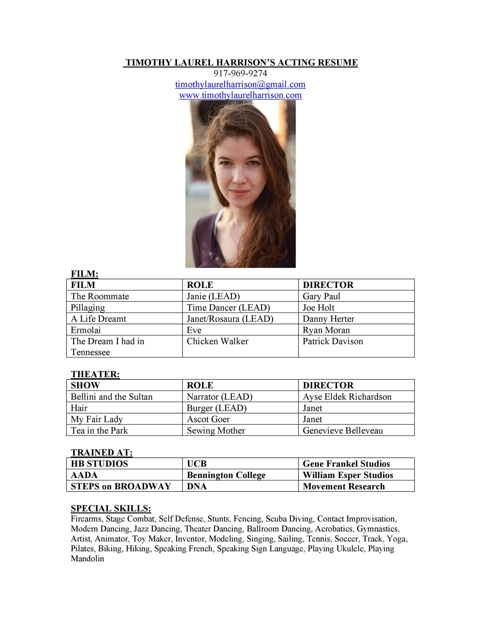 Free acting resume template 23