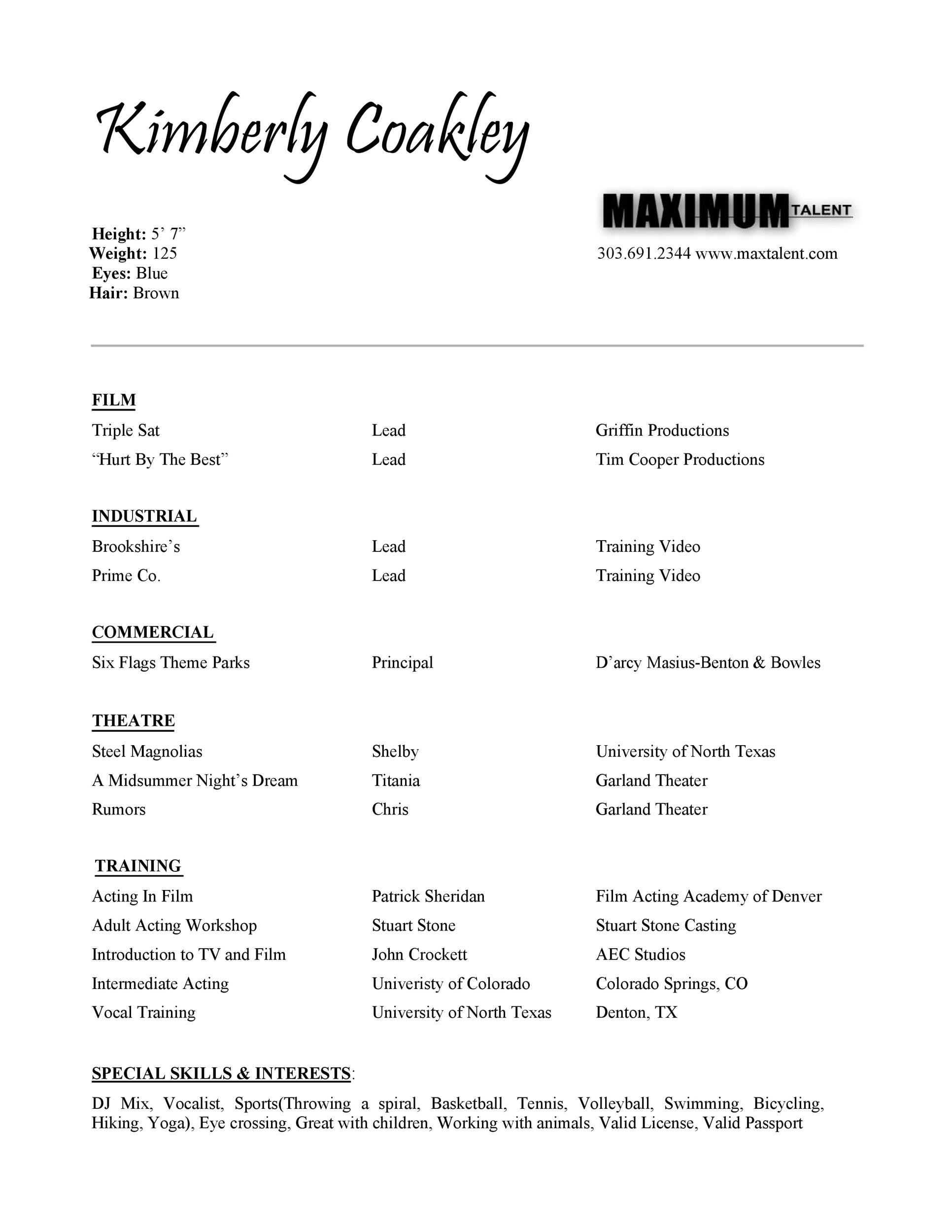 Free acting resume template 26