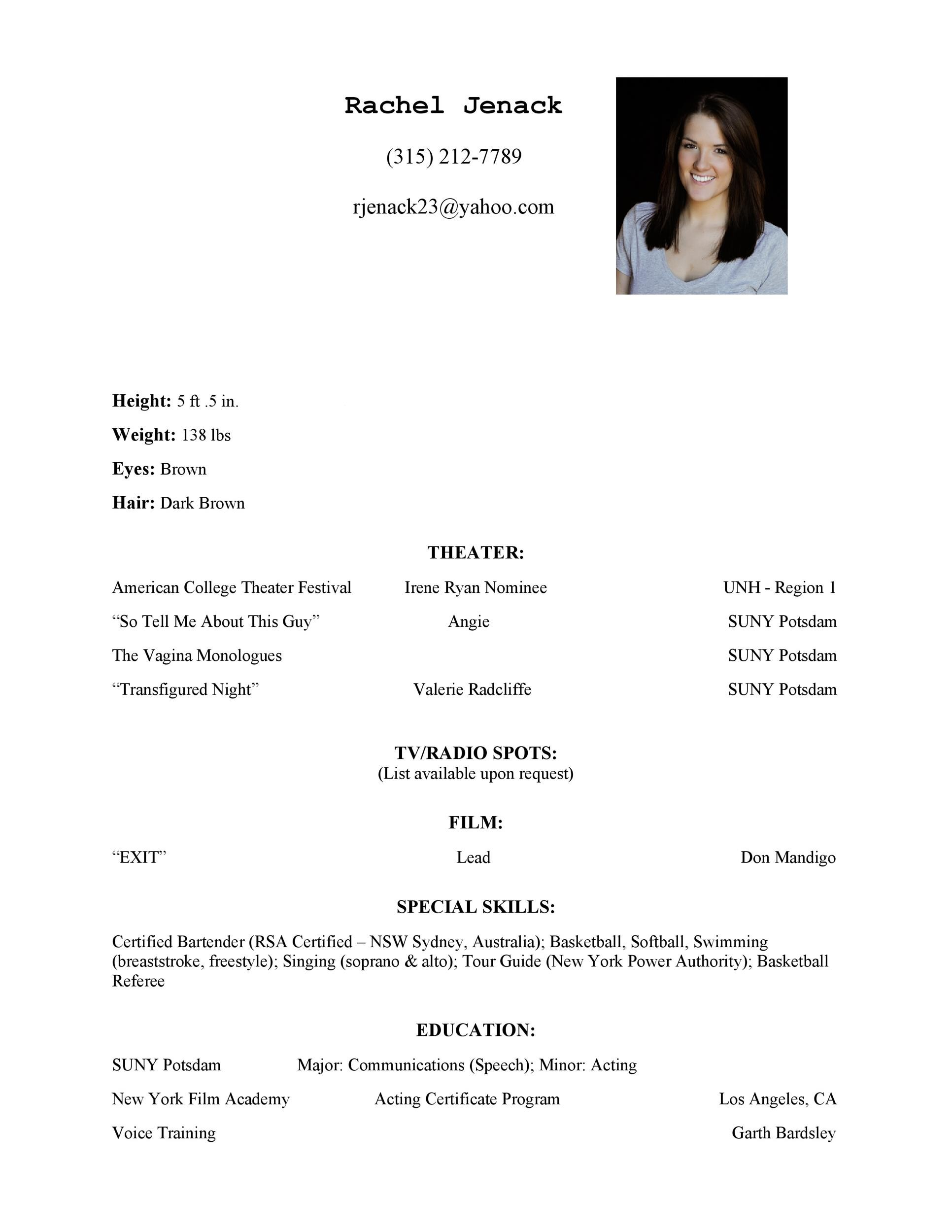 Free acting resume template 27
